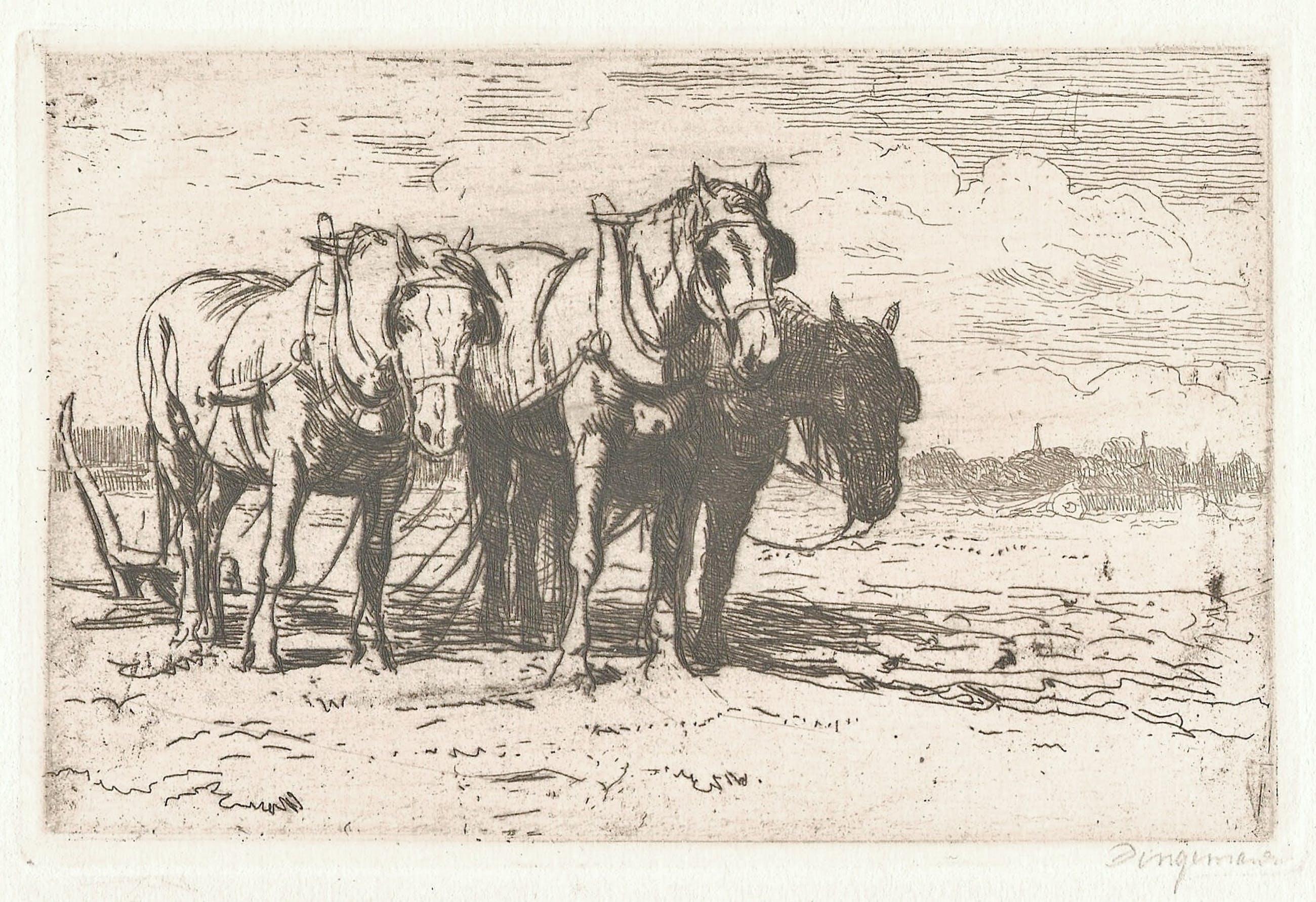 Waalko Jans Dingemans (sr.) - Trekpaarden in landschap kopen? Bied vanaf 25!