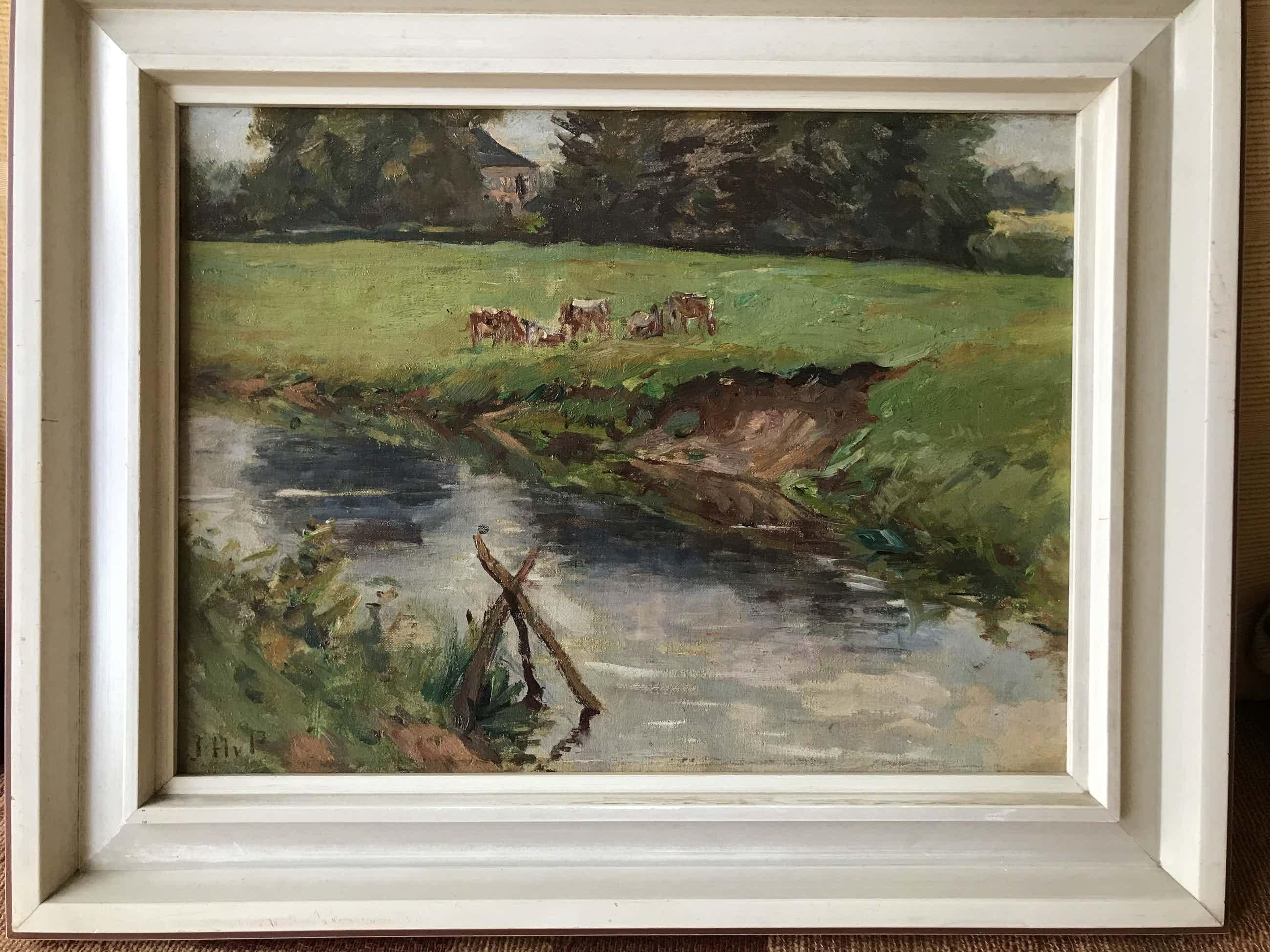 Jan Hoynck van Papendrecht - Weide landschap met riviertje en koeien kopen? Bied vanaf 225!