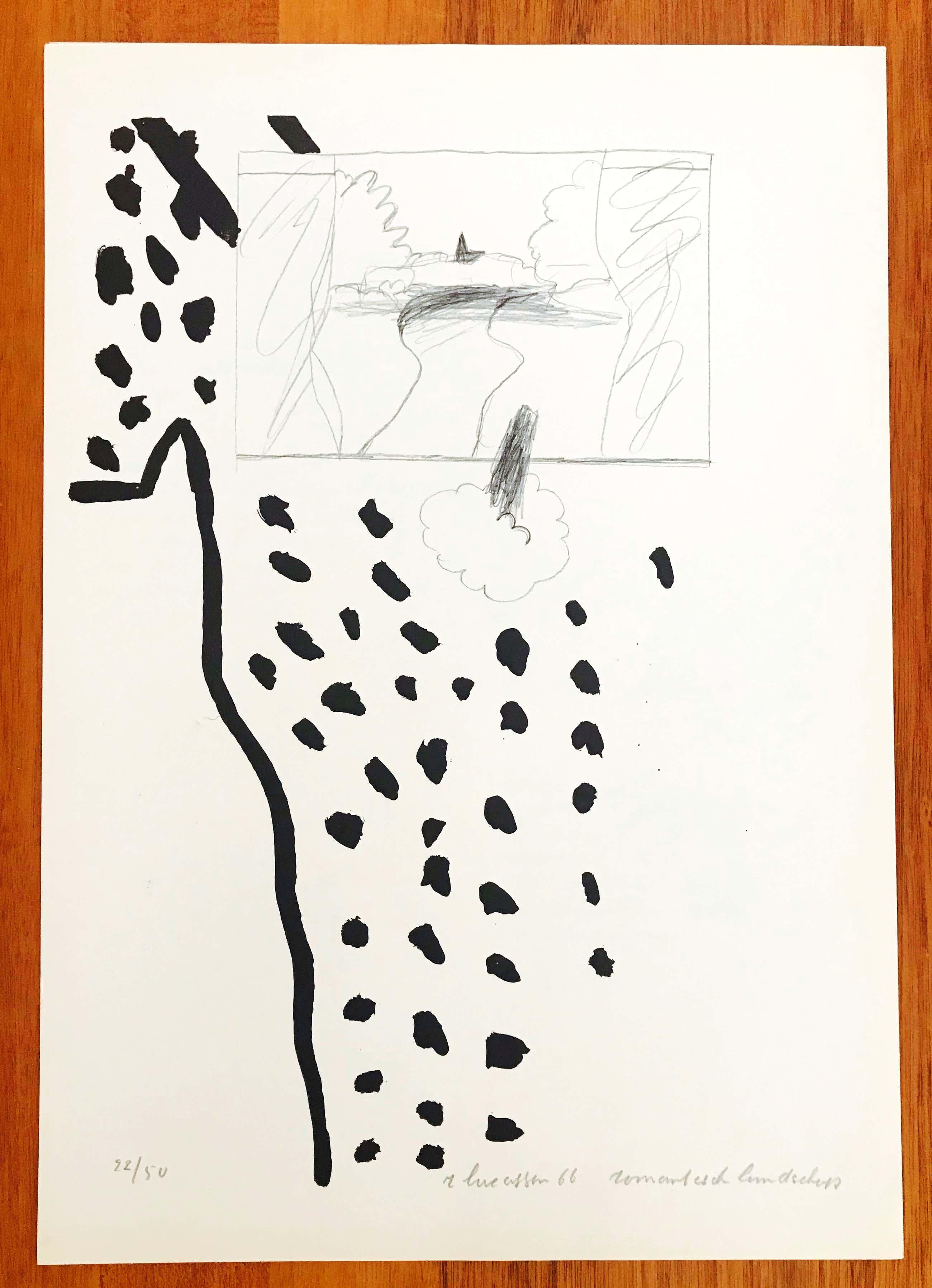 """Reinier Lucassen - Lithografie - Gesigneerd - """"Romantisch landschap"""" - 1966 - 22/50 kopen? Bied vanaf 45!"""
