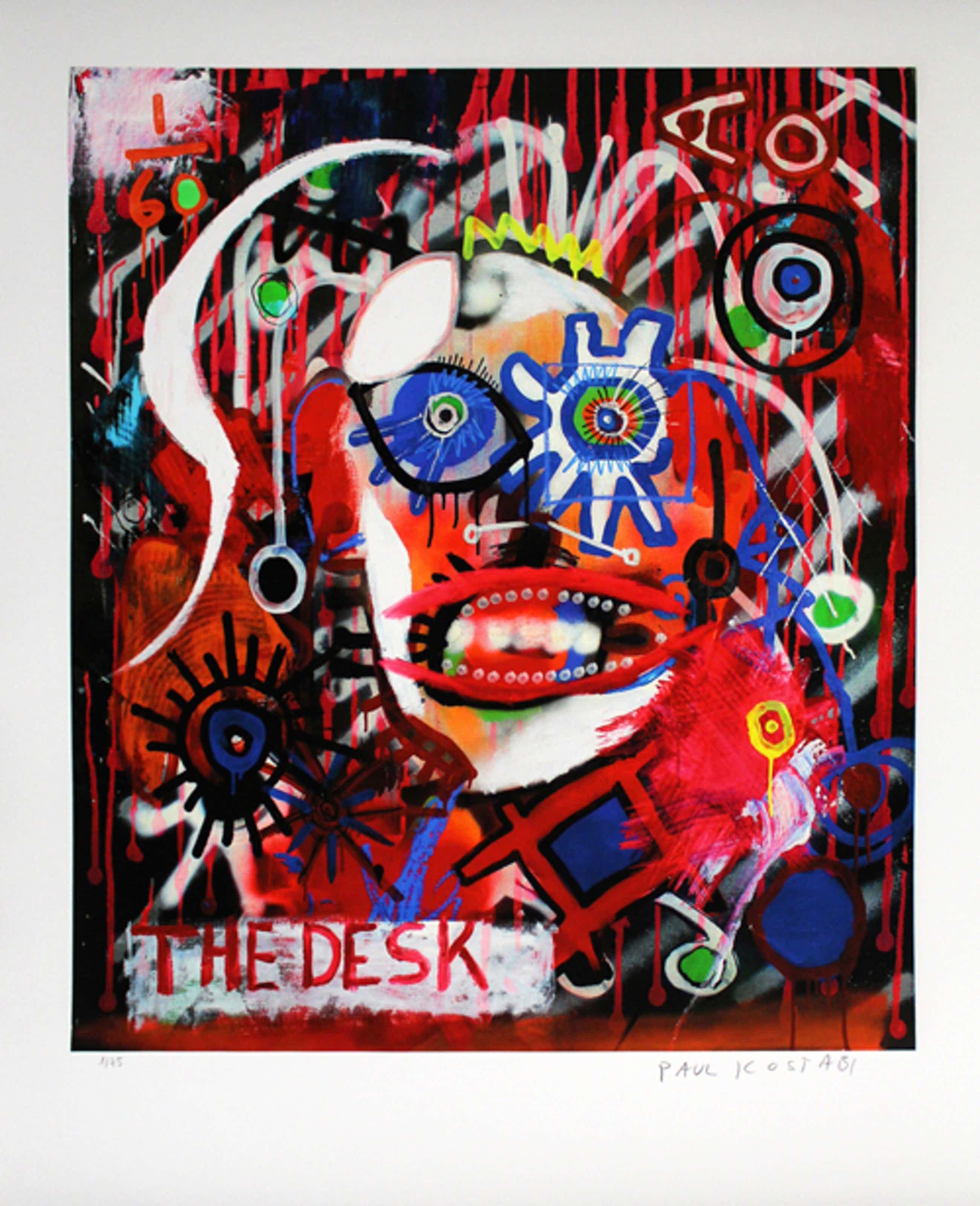 Paul Indrek Kostabi - Kleurengiclee THE DESK Handgesigneerd GROOT!! kopen? Bied vanaf 65!