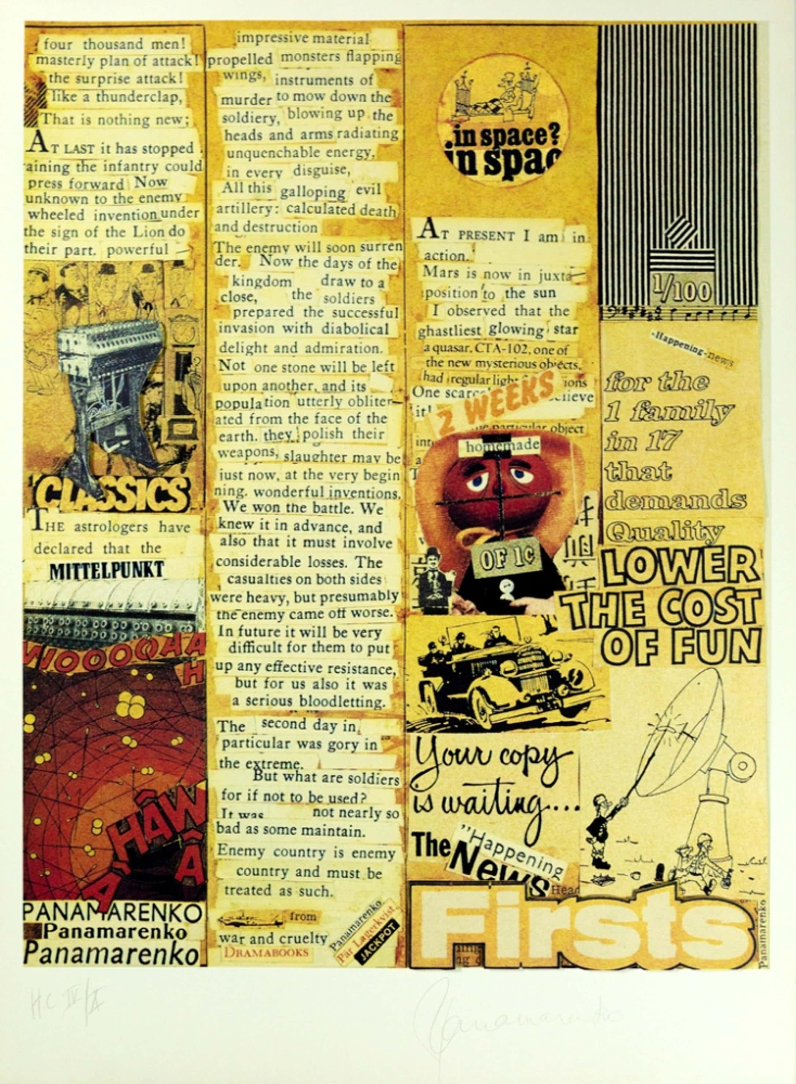Panamarenko - In Space, Litho en Collage 2003, handgesigneerd met certificaat kopen? Bied vanaf 900!