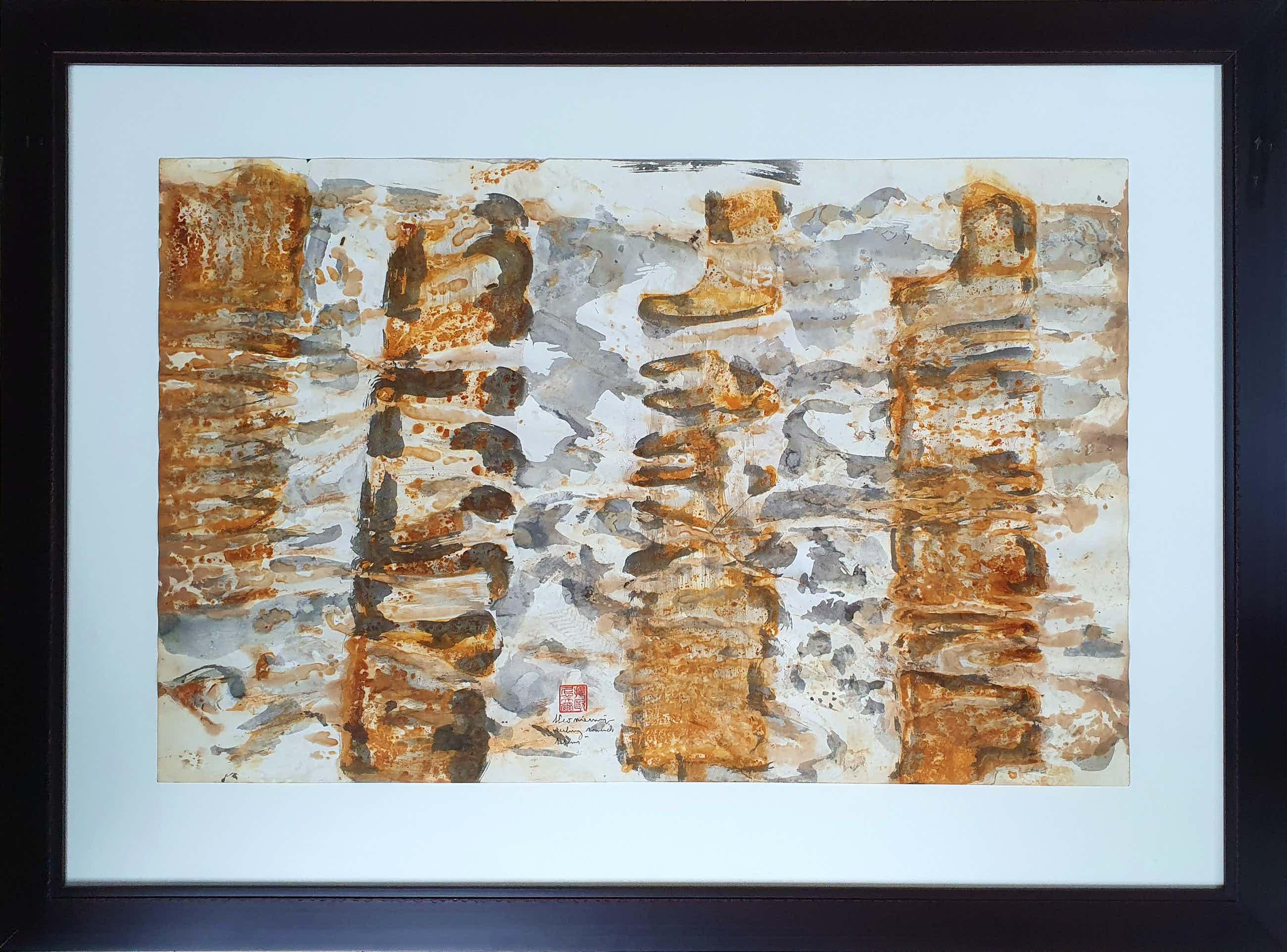 Theo Niermeijer - 'Ruling totems' Ingelijste ferroprint en aquarel (Groot) kopen? Bied vanaf 125!