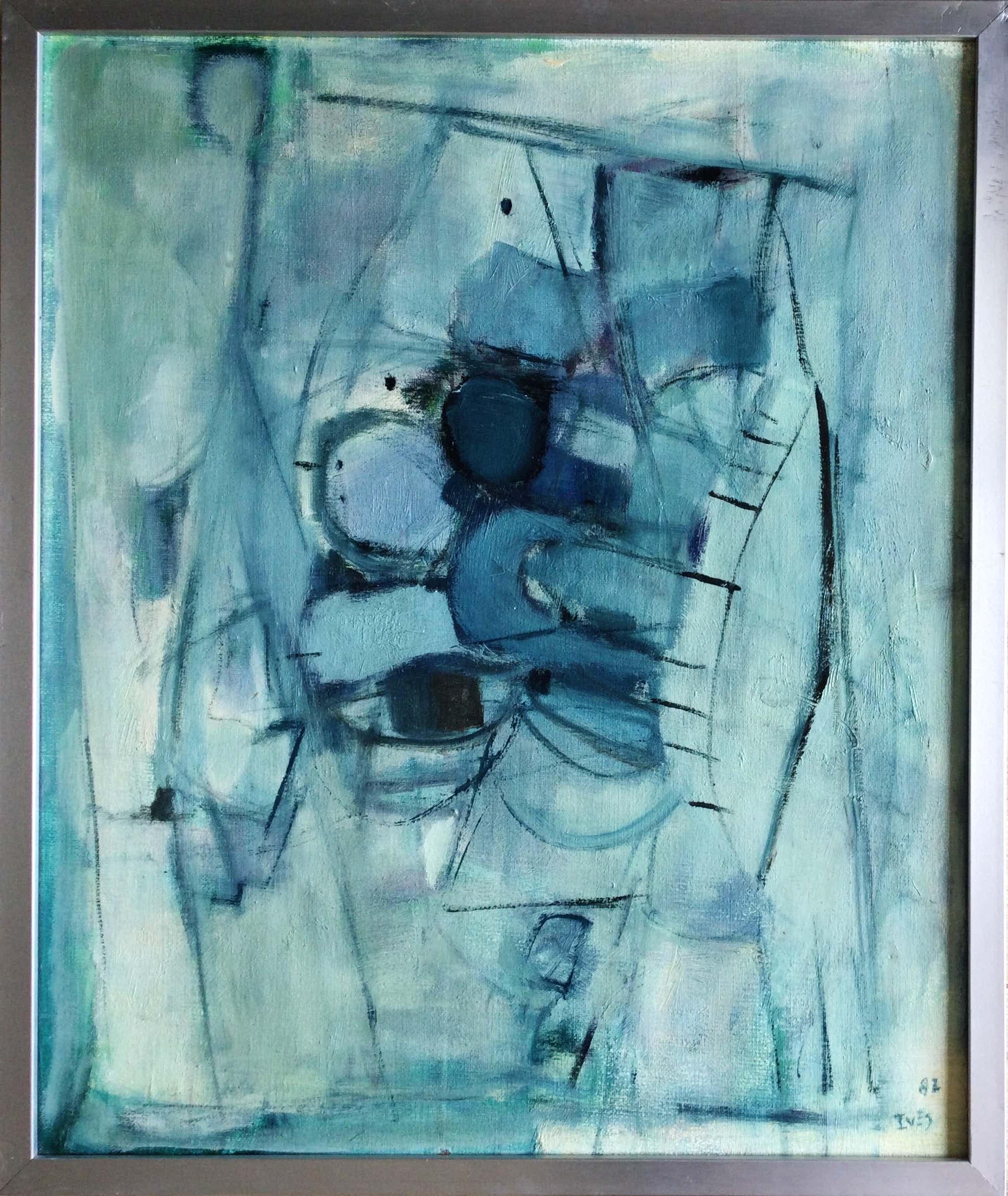Iet van Es - Abstract schilderij in groen-blauw (ingelijst) kopen? Bied vanaf 150!
