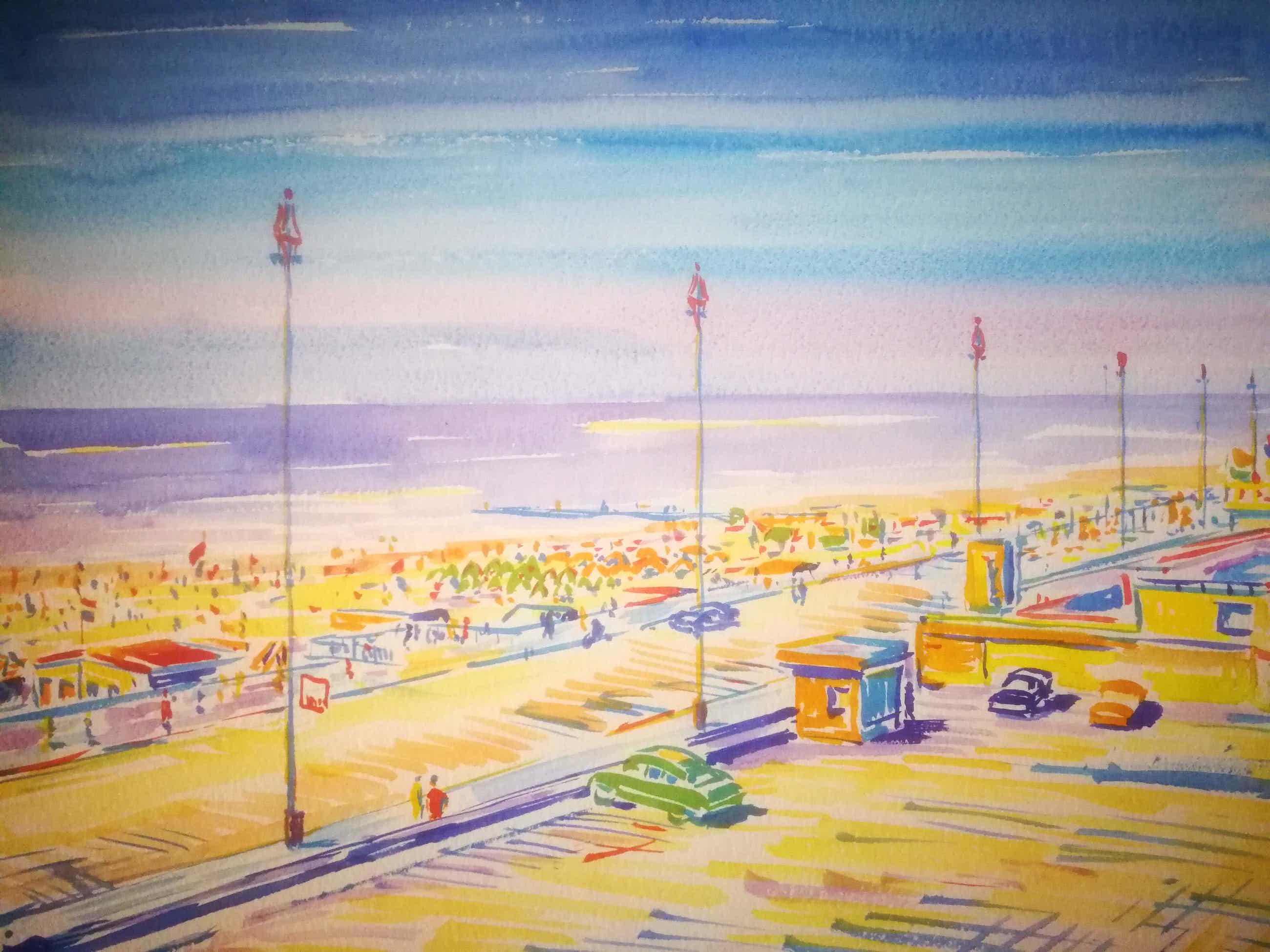 Gillis van Oosten - Scheveningen boulevard. Juni 1955. kopen? Bied vanaf 125!