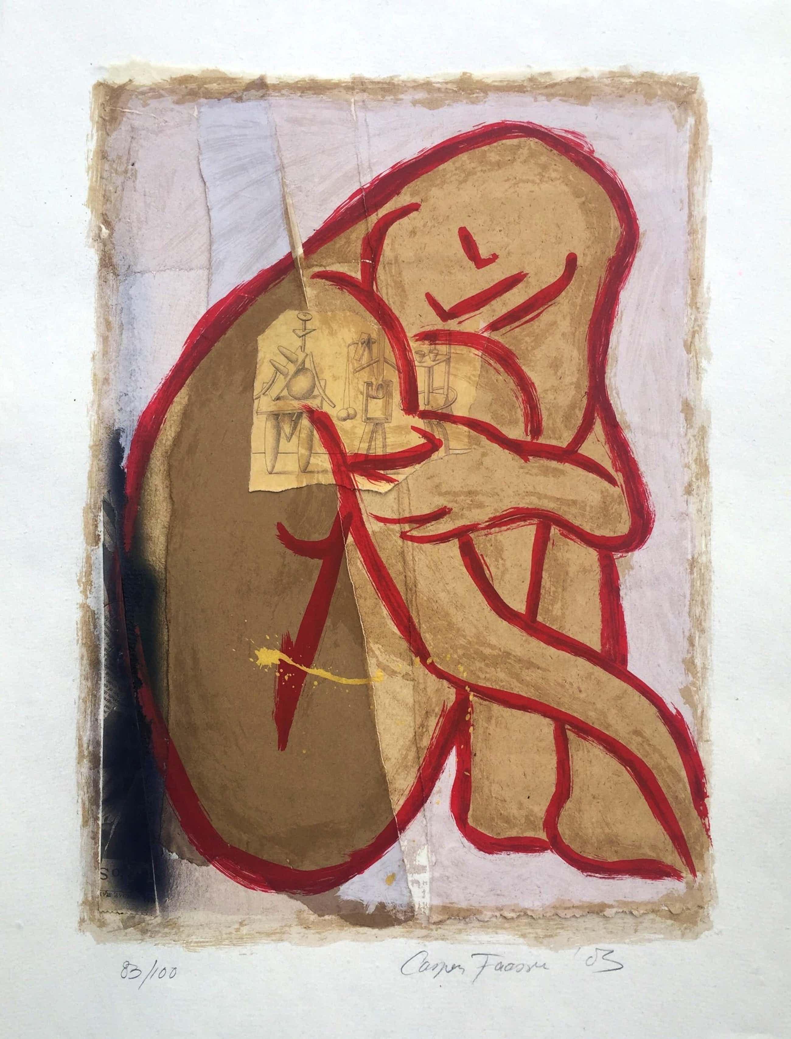 Casper Faassen - Verstild naakt II - zeefdruk/collage - 2003 kopen? Bied vanaf 220!