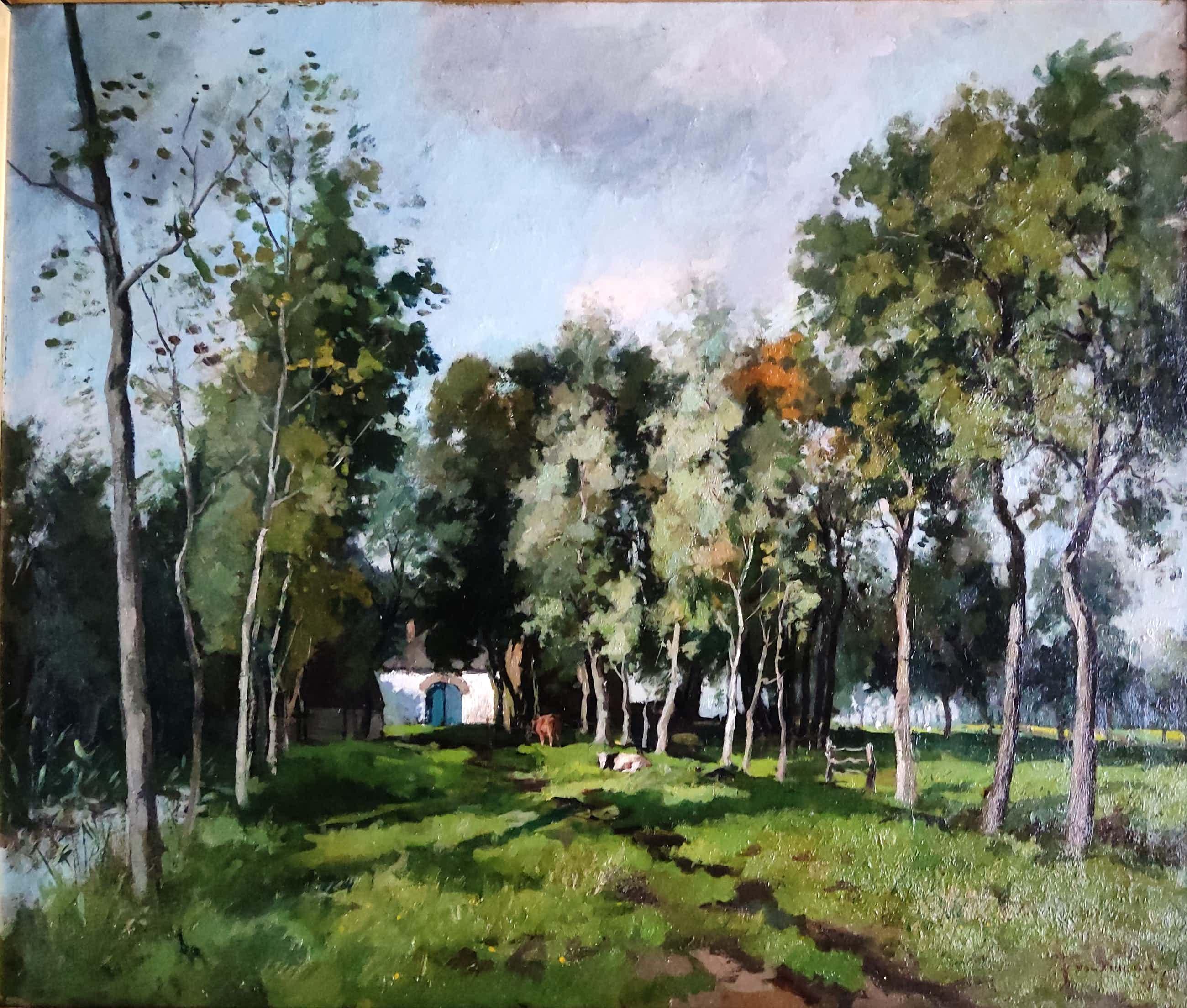 Jan van Vuuren - Koeien bij boerderij tussen bomen kopen? Bied vanaf 700!