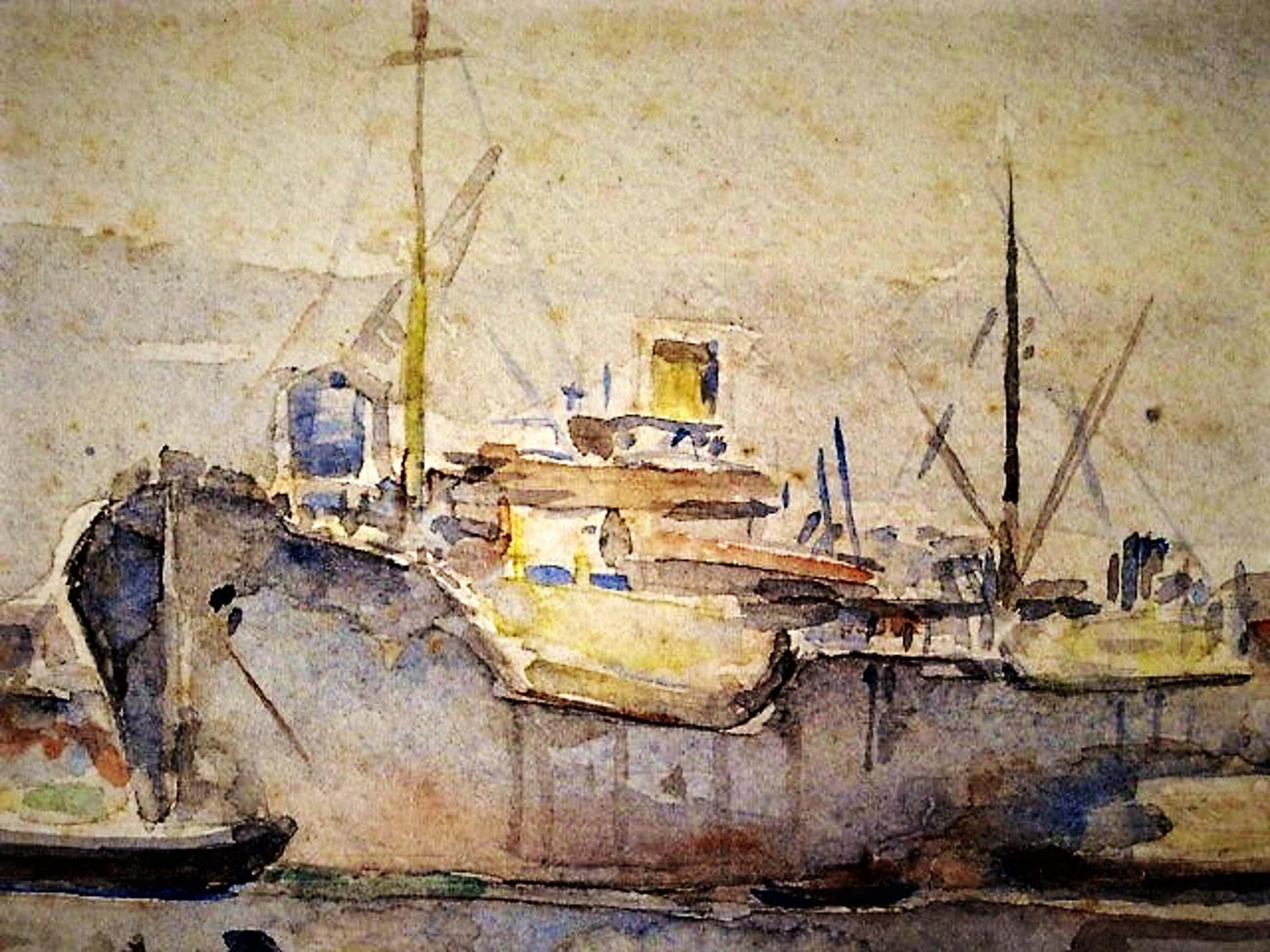 """Bob Buys - Karakteristiek impressionistisch Aquarel """"Boten in Haven"""" gesigneerd kopen? Bied vanaf 20!"""