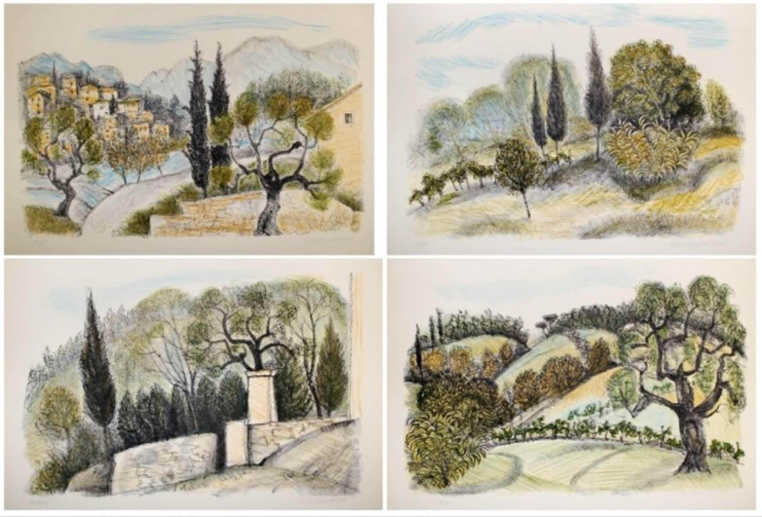 Chris de Moor - Vier handgesigneerde lithografieën: Landschappen I, II, III, IV kopen? Bied vanaf 60!