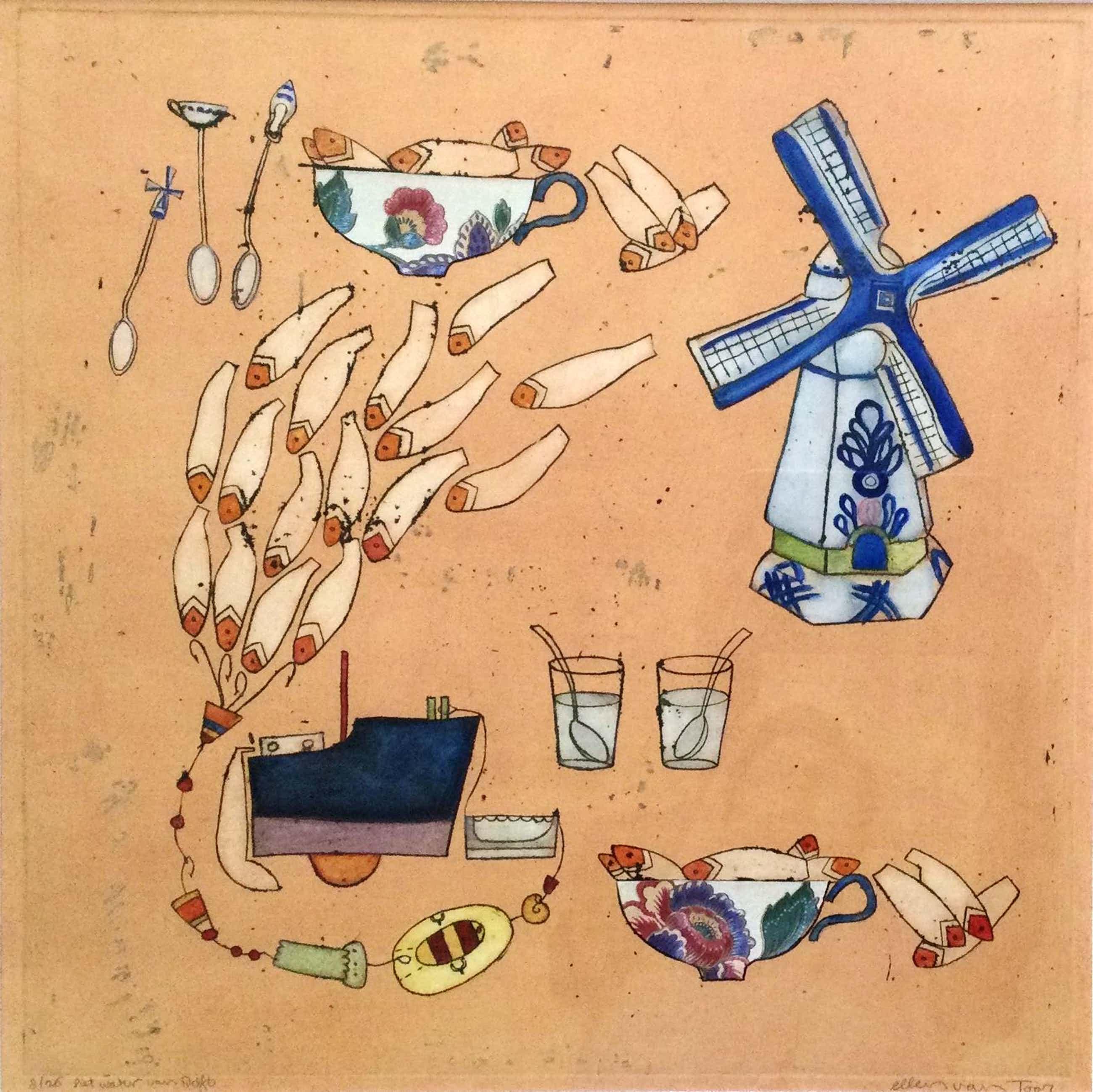 Ellen van Toor - het water van Delft | kleurenets met gemengde techniek kopen? Bied vanaf 65!