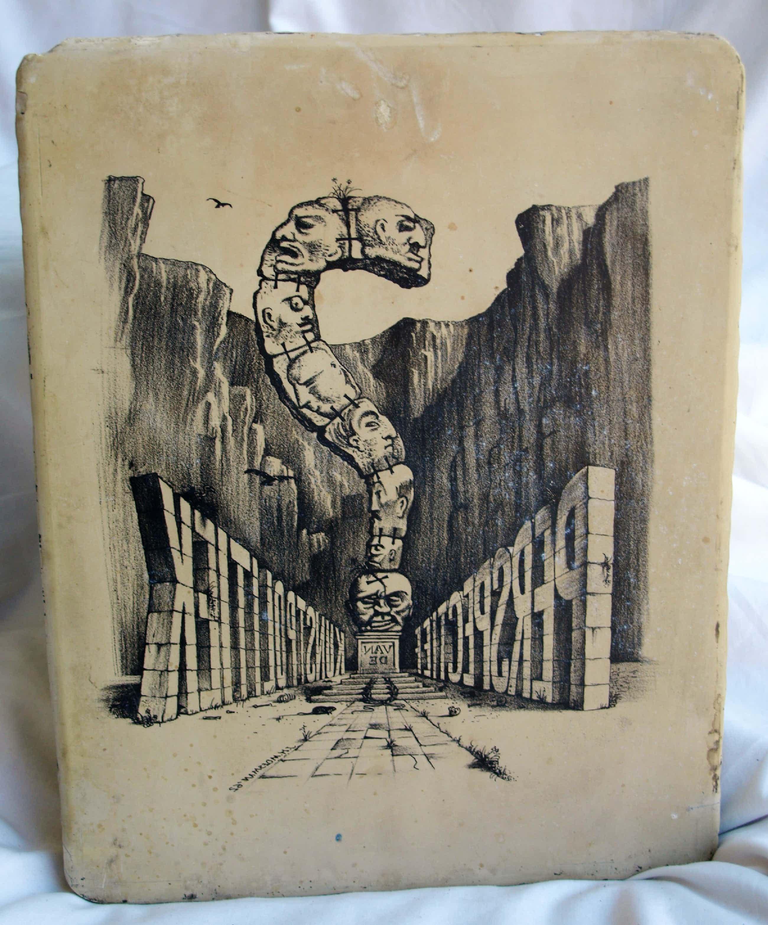 """Joop Moesman - Unieke lithosteen """"Perspectief van de kunstpolitiek"""" + 2 boeken - 1962 kopen? Bied vanaf 2500!"""