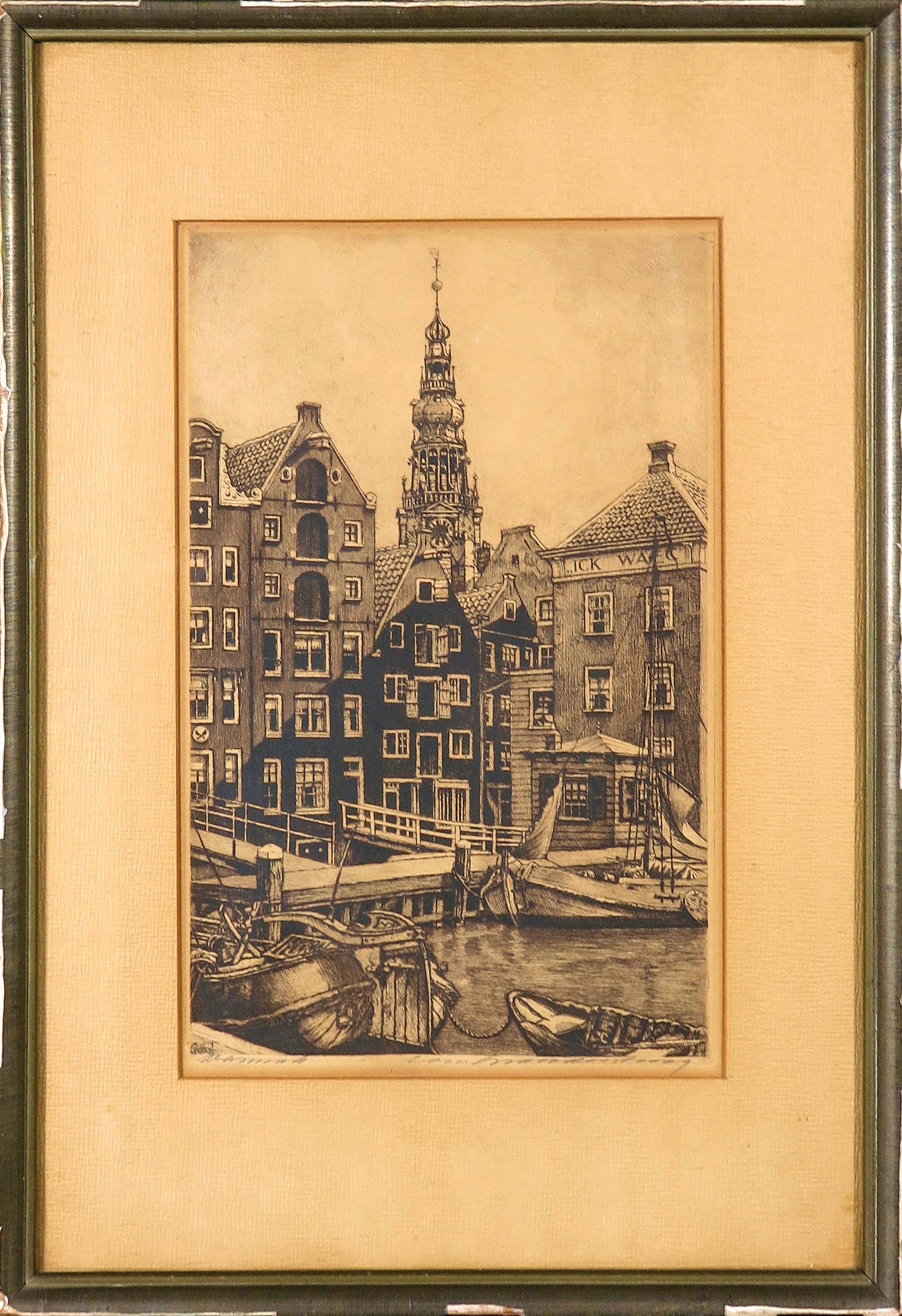 Cornelis Brandenburg - Ets, Zicht vanaf het Damrak kopen? Bied vanaf 40!