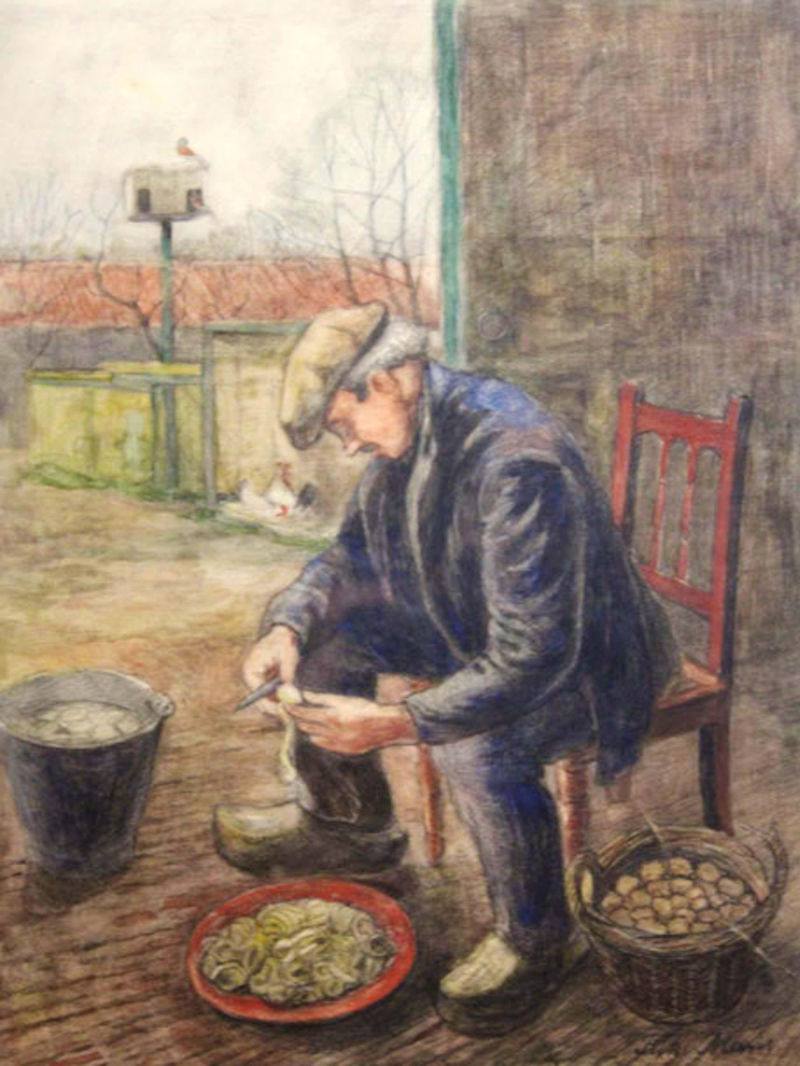 """Frits Maris - Gemengde techniek - """"Boer schilt aardappels"""" kopen? Bied vanaf 195!"""