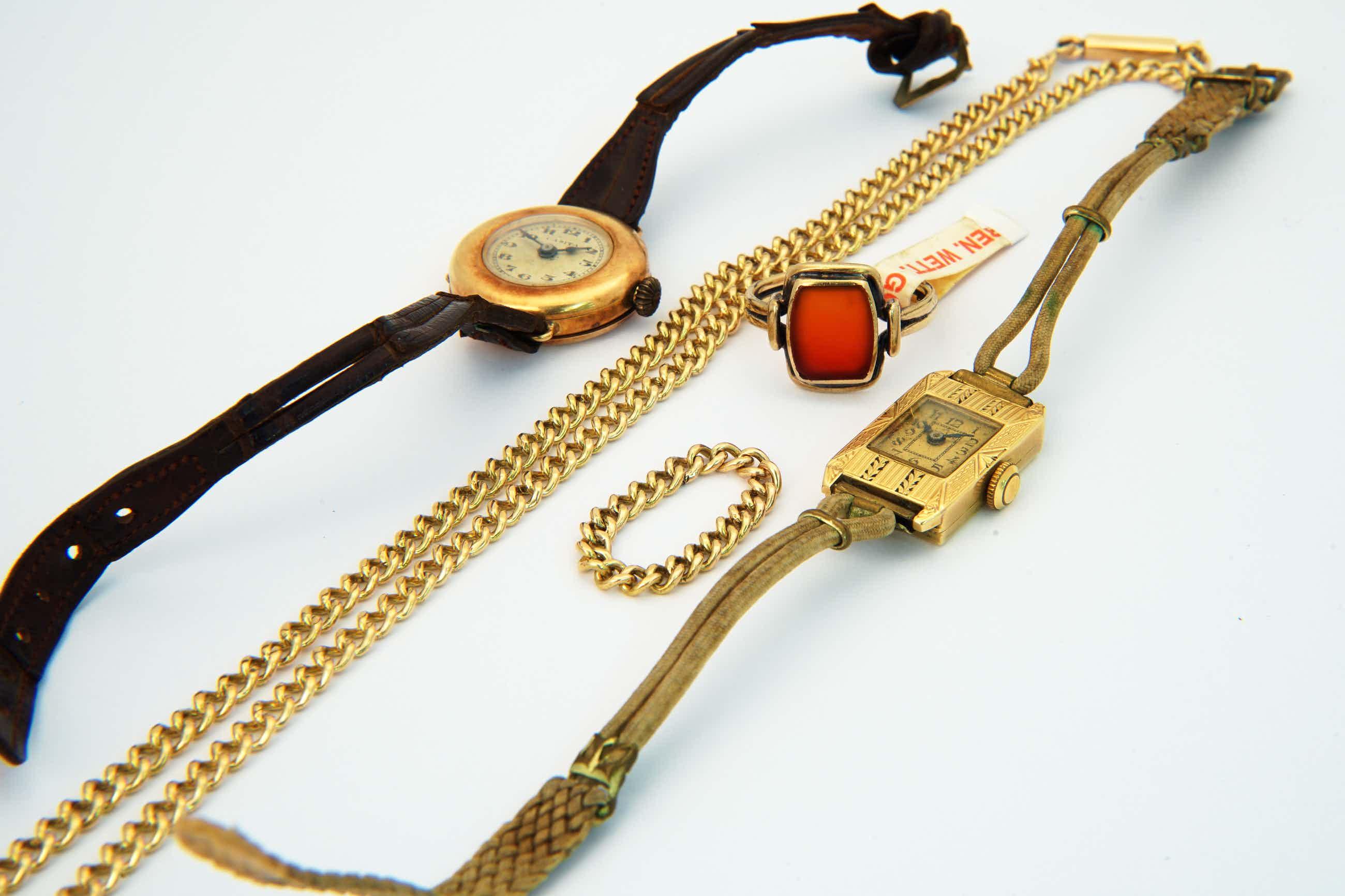 2294 - 14Kt Vintage Art Deco Combi-pand-Collier -2x Horloge - 2 ringen. kopen? Bied vanaf 481!