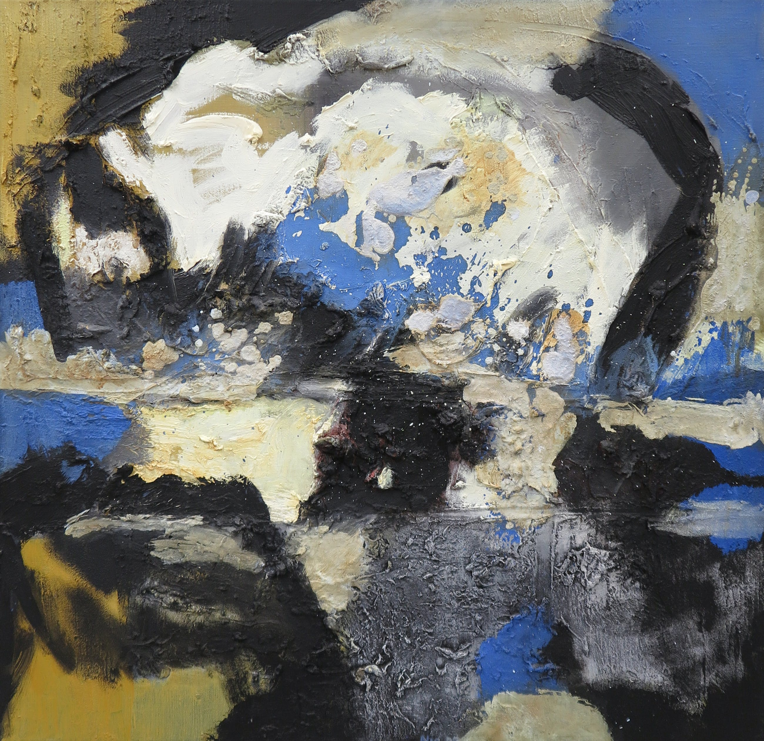 Frans Nicolai - Gemengde techniek op doek, Abstracte compositie - Ingelijst kopen? Bied vanaf 80!