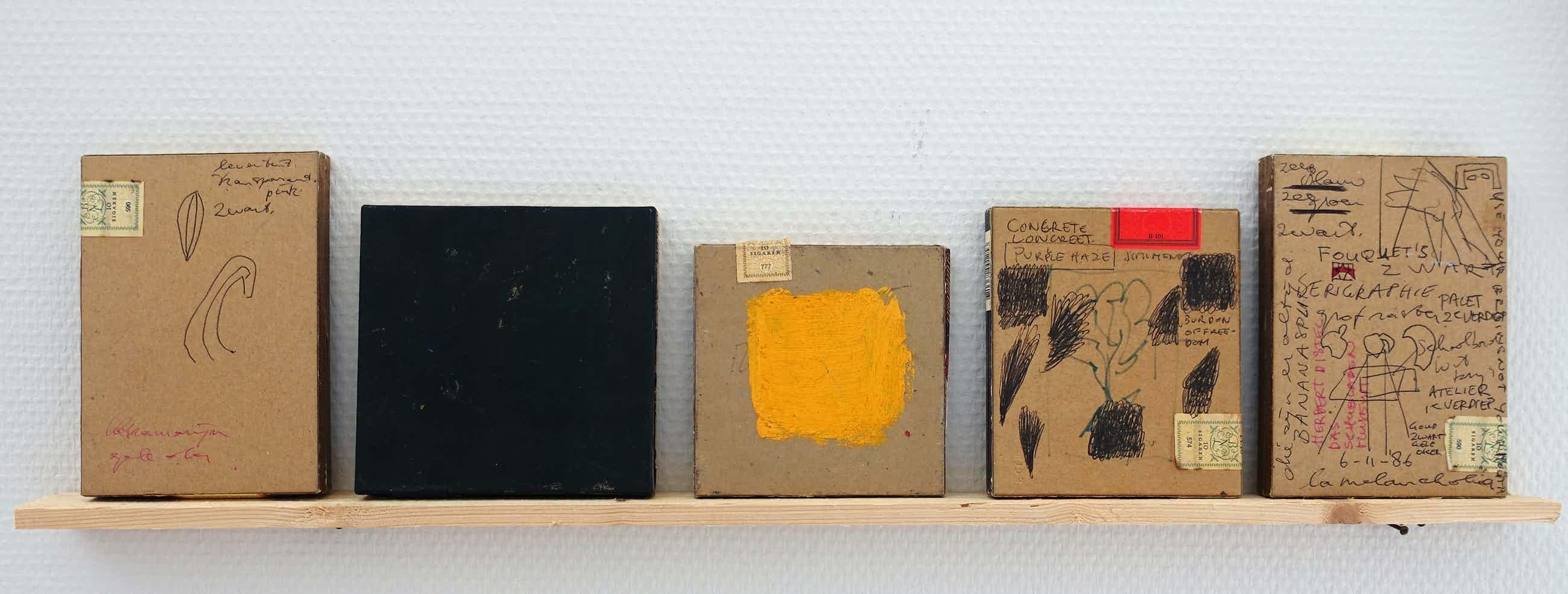 """Piet Dirkx - Lat met 5 doosjes. # """" ZWART"""" # onderdeel Biotoop, 1995, mint kopen? Bied vanaf 295!"""