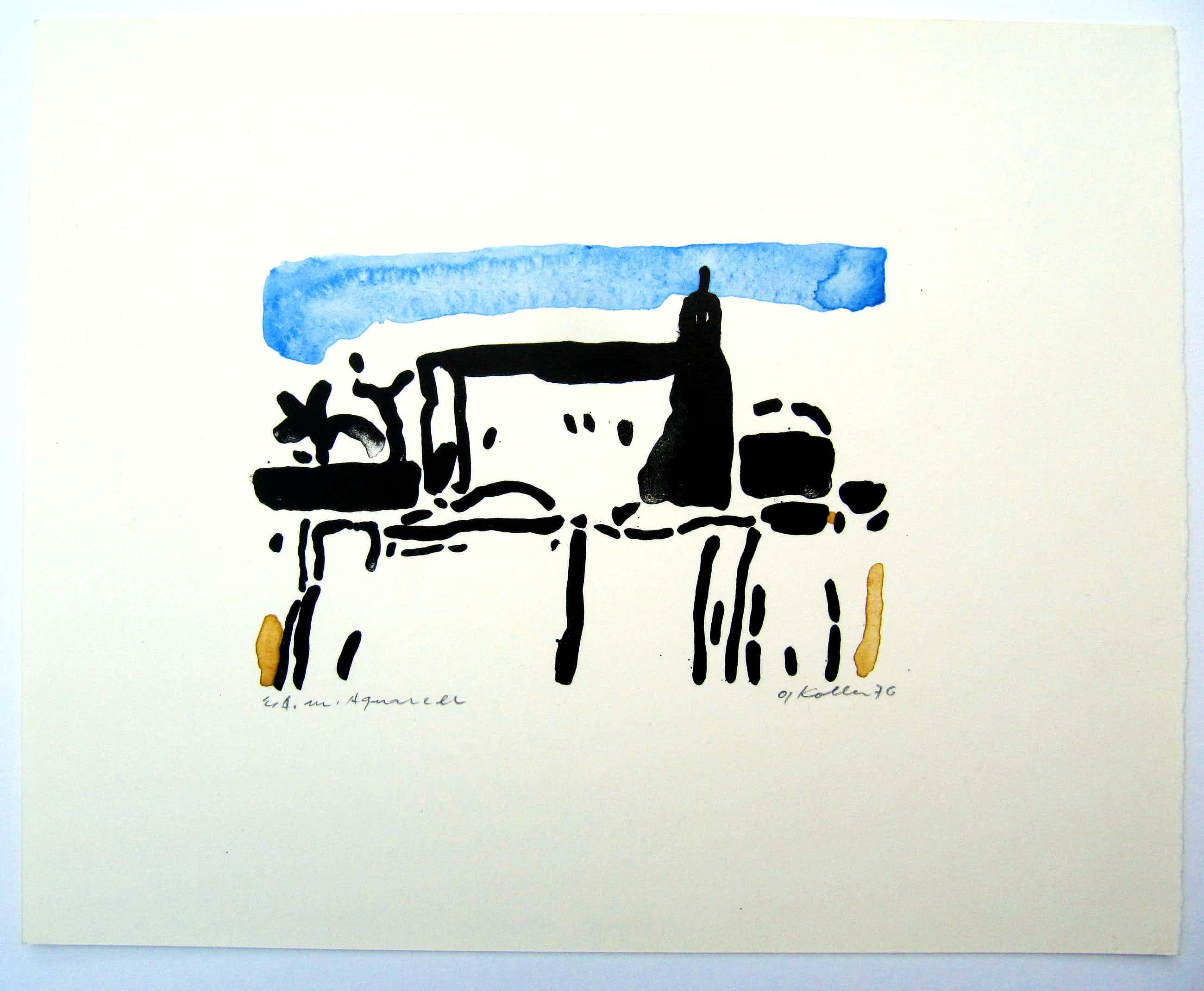 Oskar Koller - Moschee, Werksverzeichnis 433, 1976, Lithographie, Expl. E.A. mit Aquarell kopen? Bied vanaf 125!