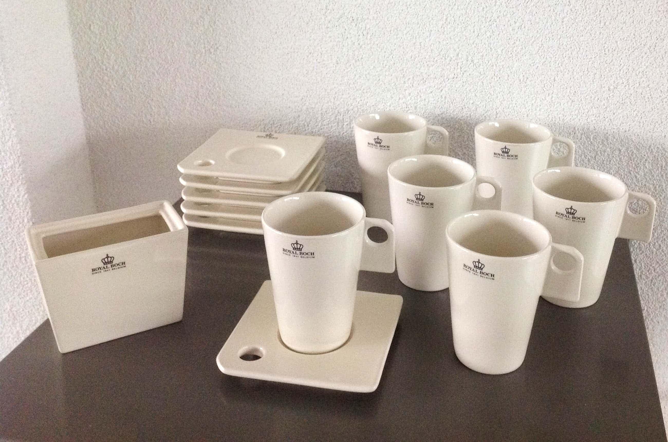 """Royal Boch - Marc Pairon zes kop-en-schotels en suikerpot """"Zeosen"""" kopen? Bied vanaf 28!"""