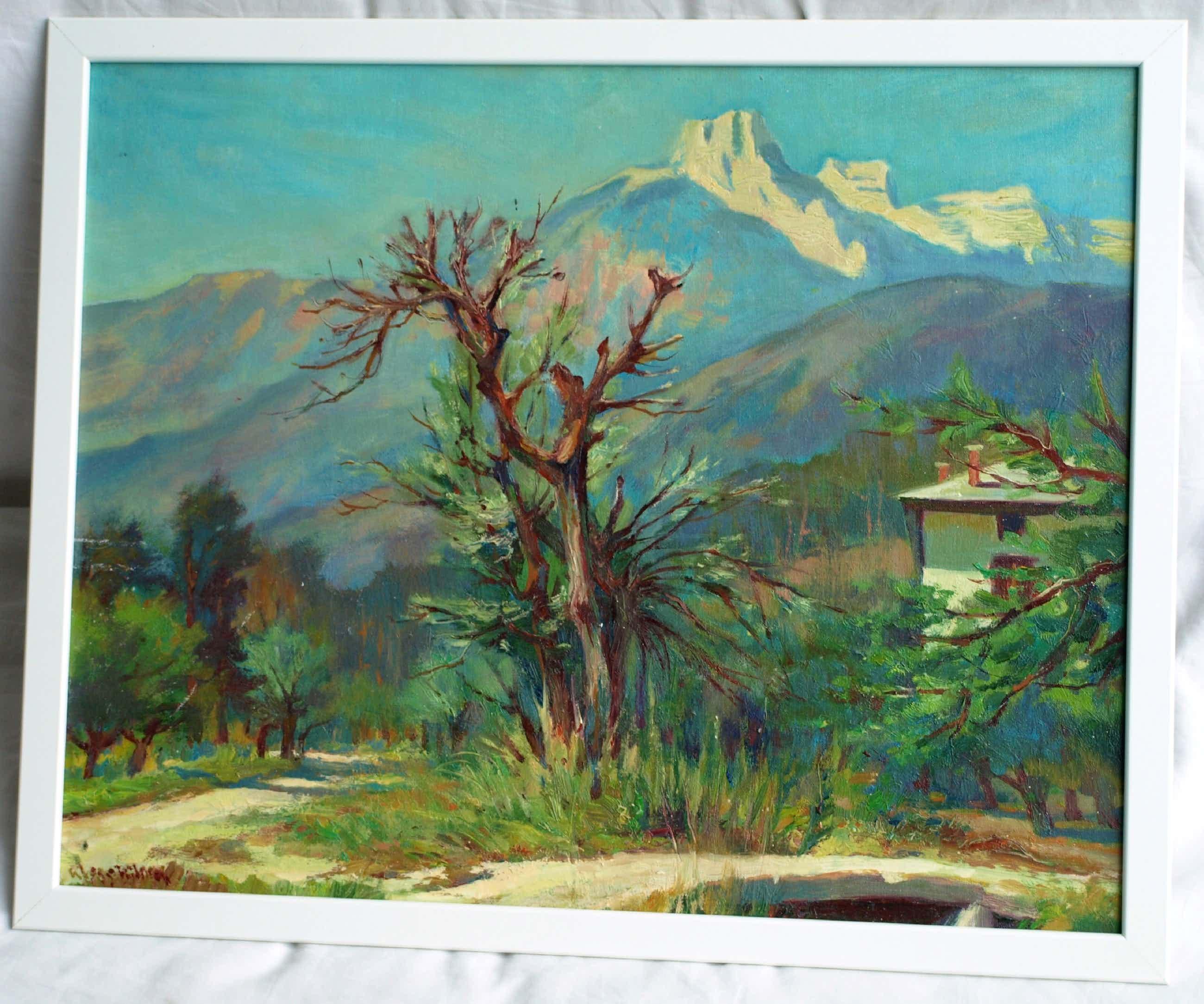 Klaas Pijlman - Olieverf op canvasboard , Cornetta, Italië - gesigneerd & ingelijst – 1980 kopen? Bied vanaf 35!