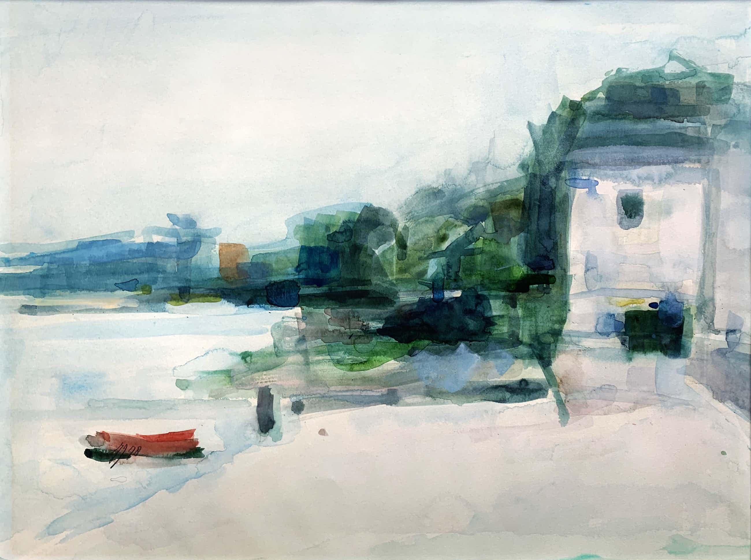 Hans Hellingwerf - aquarel | 'Huis aan de rivier' | 1978 (Uniek werk) kopen? Bied vanaf 60!