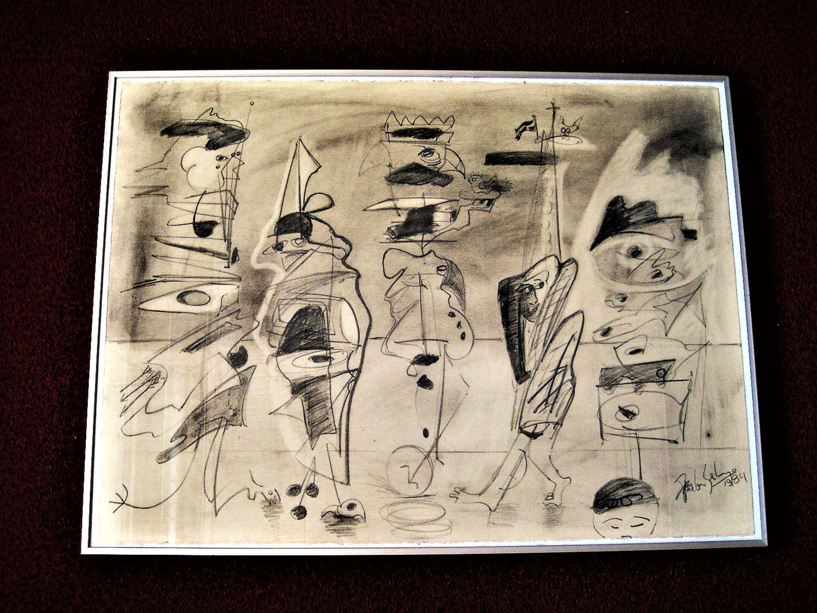 Arie van Selm - 1985 Galerie d'Eendt Amsterdam - Grote Abstract Figuratieve Tekening - gesigd. kopen? Bied vanaf 50!