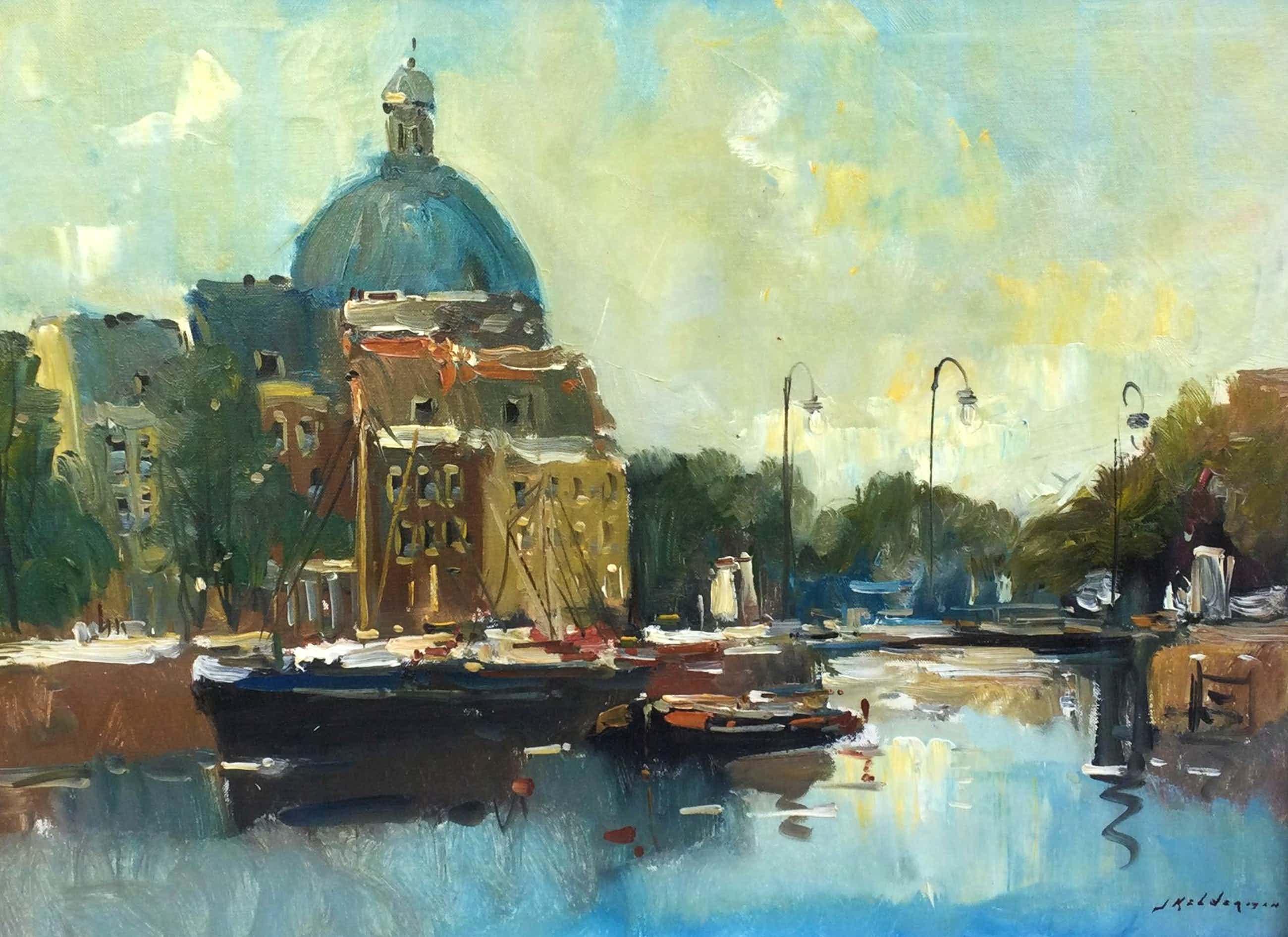 Jan Kelderman - C5050-1, Amsterdam met uitzicht op de Sint-Nicolaaskerk kopen? Bied vanaf 150!