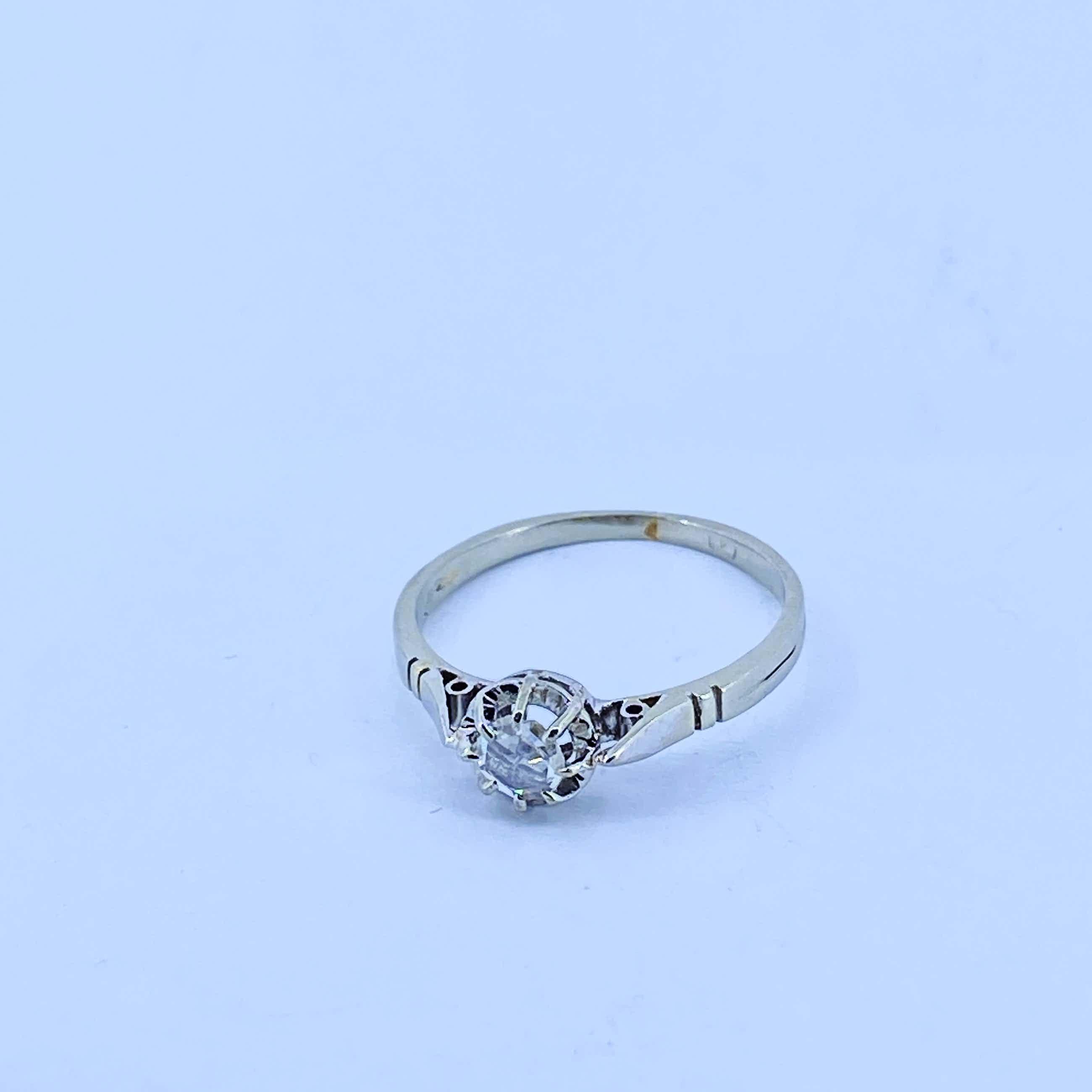 18 kt witgouden ring met Diamant, 1,82 gram kopen? Bied vanaf 100!