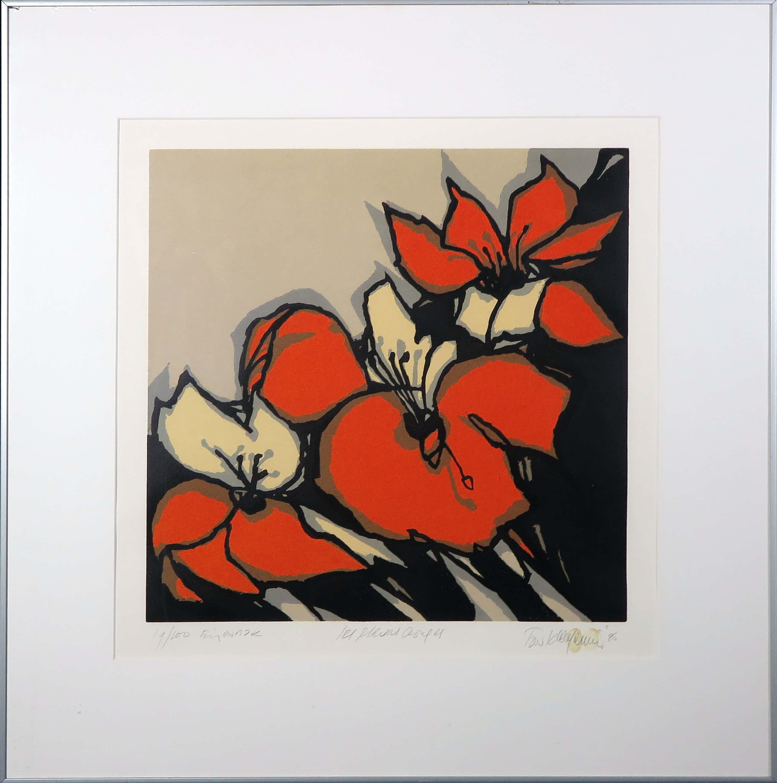 Fon Klement - Boardsnede, Les Fleurs rouges - Ingelijst kopen? Bied vanaf 80!