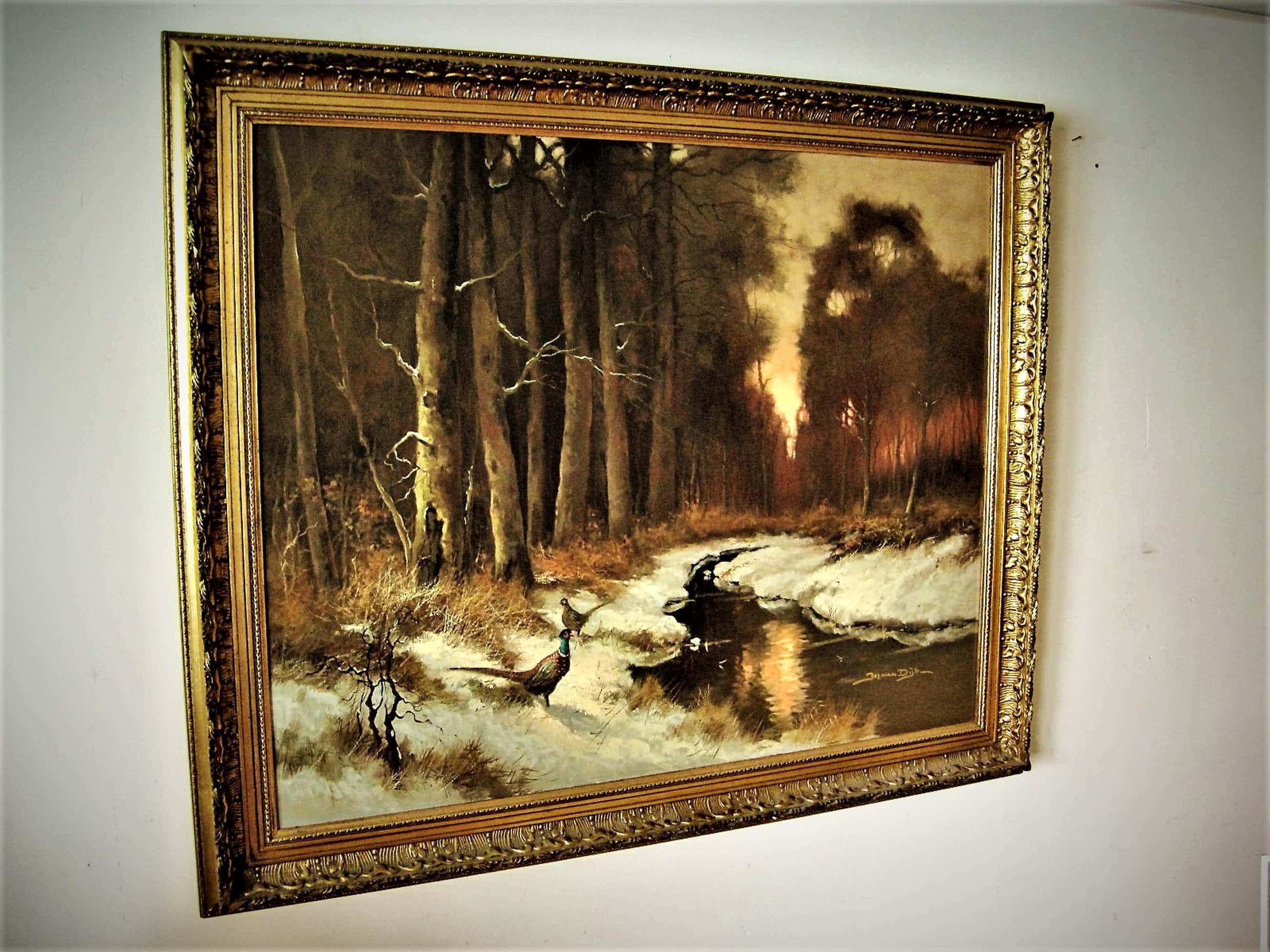 """Jos van Dijk - GROOT omstreeks 1950 geschilderd Olieverf """"Fazanten in winters boslandschap"""" kopen? Bied vanaf 170!"""