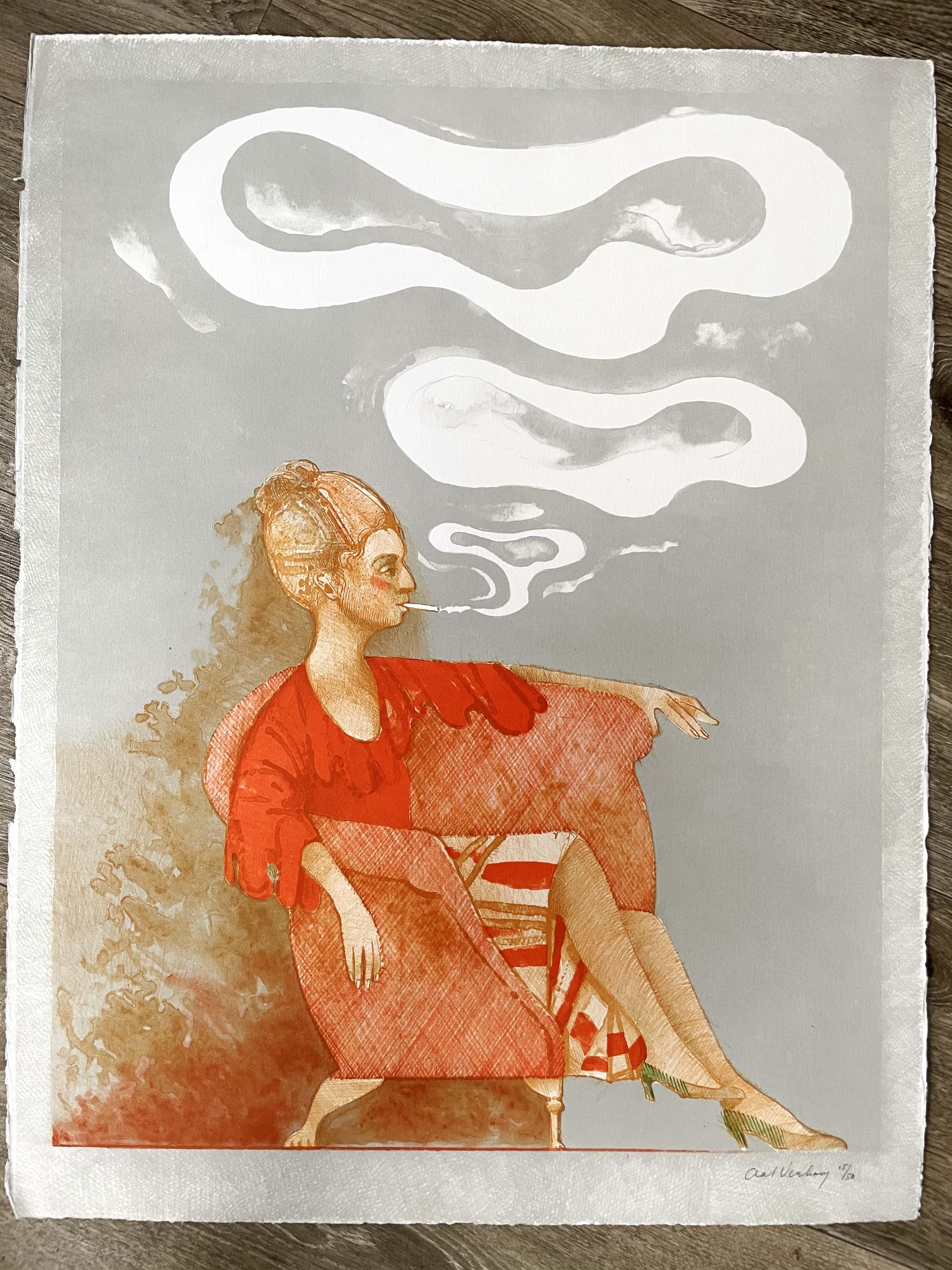 Aat Verhoog - Rokende vrouw in stoel kopen? Bied vanaf 40!
