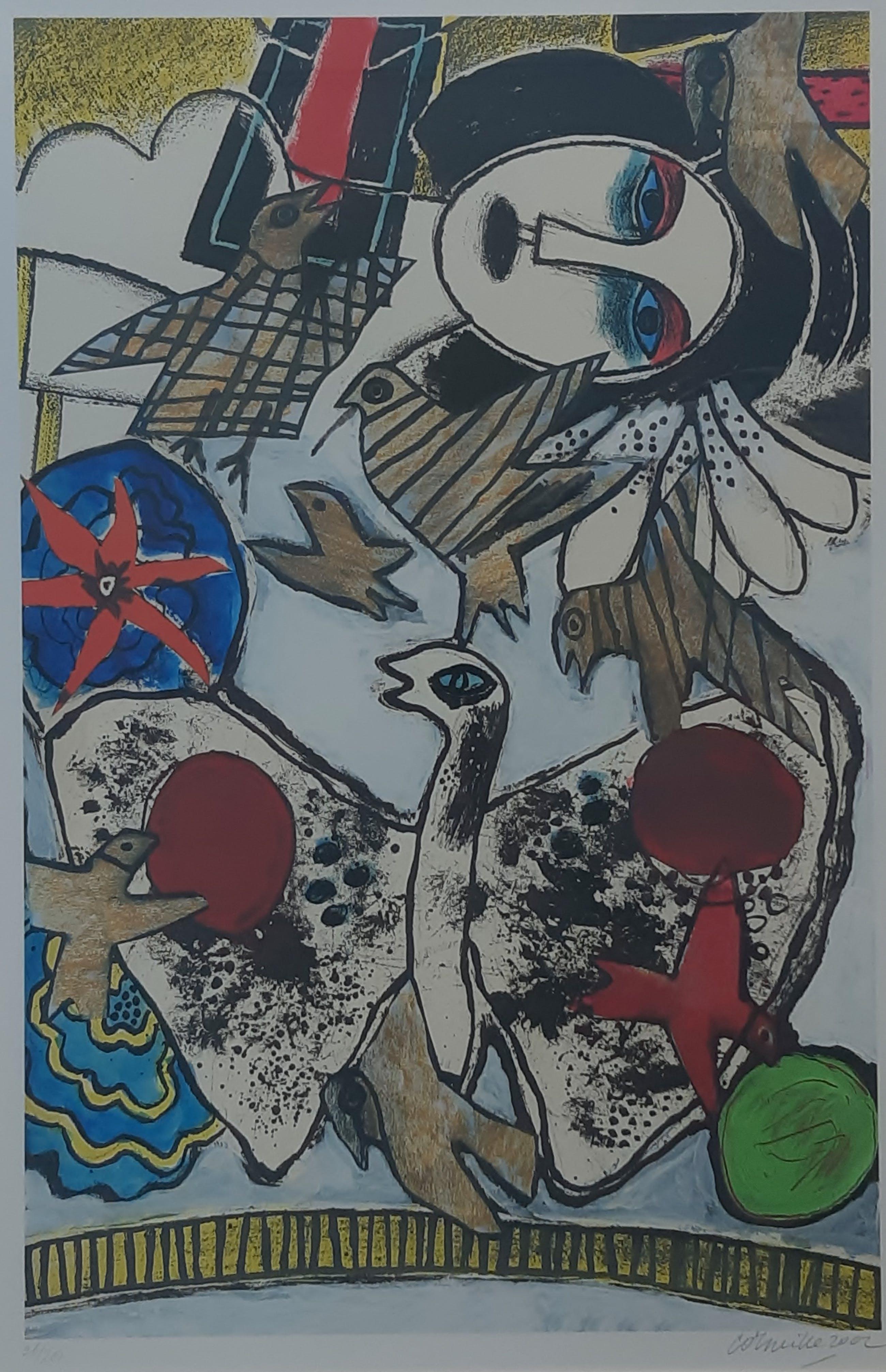 """Corneille - """"L 'Oiseau Papillon"""" - Grote, fraai ingelijste zeefdruk uit 2002 kopen? Bied vanaf 275!"""