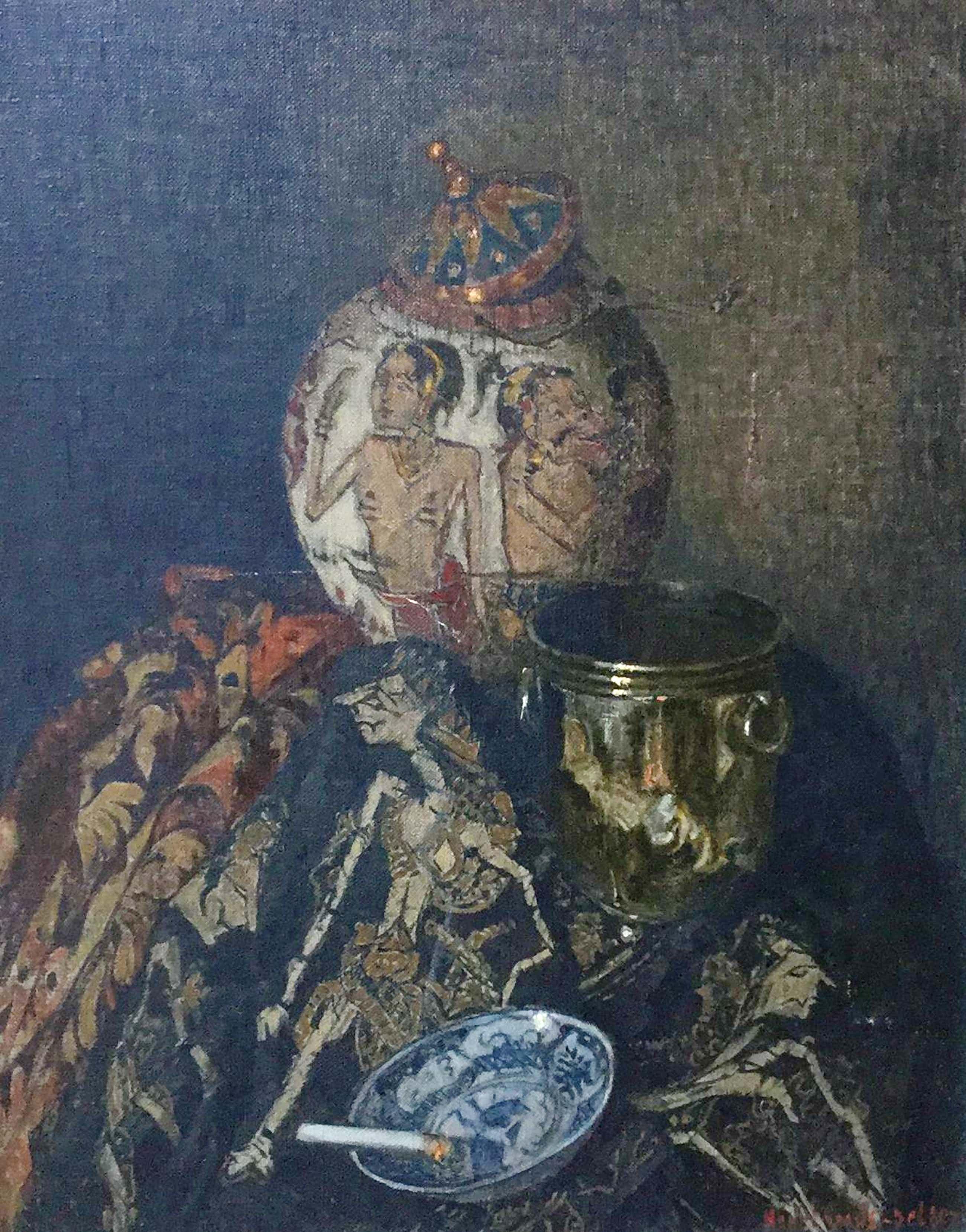 Henri van Os-Delhez - C4629, Stilleven met Indonesische Wajangpoppen, Chinees porselein en zilver kopen? Bied vanaf 600!