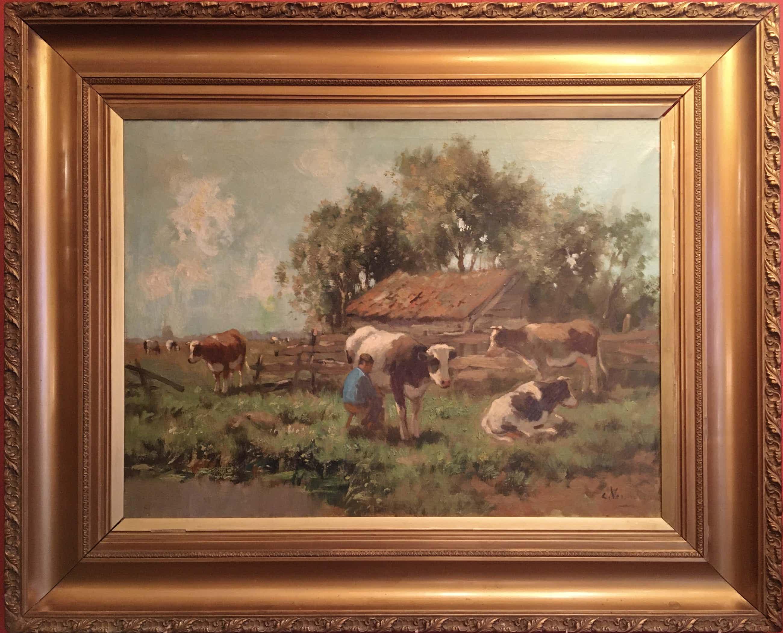 Cor Bouter - Cor Bouter (pseud. C.Verschuur), melkbocht, olie op doek kopen? Bied vanaf 625!