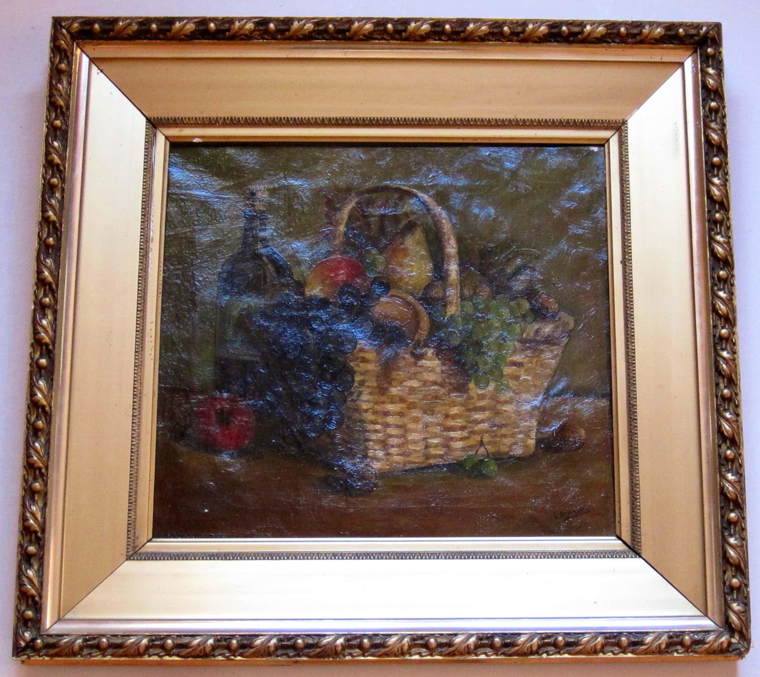 Lou Asperslagh - Stilleven met een mand en een fles wijn kopen? Bied vanaf 130!