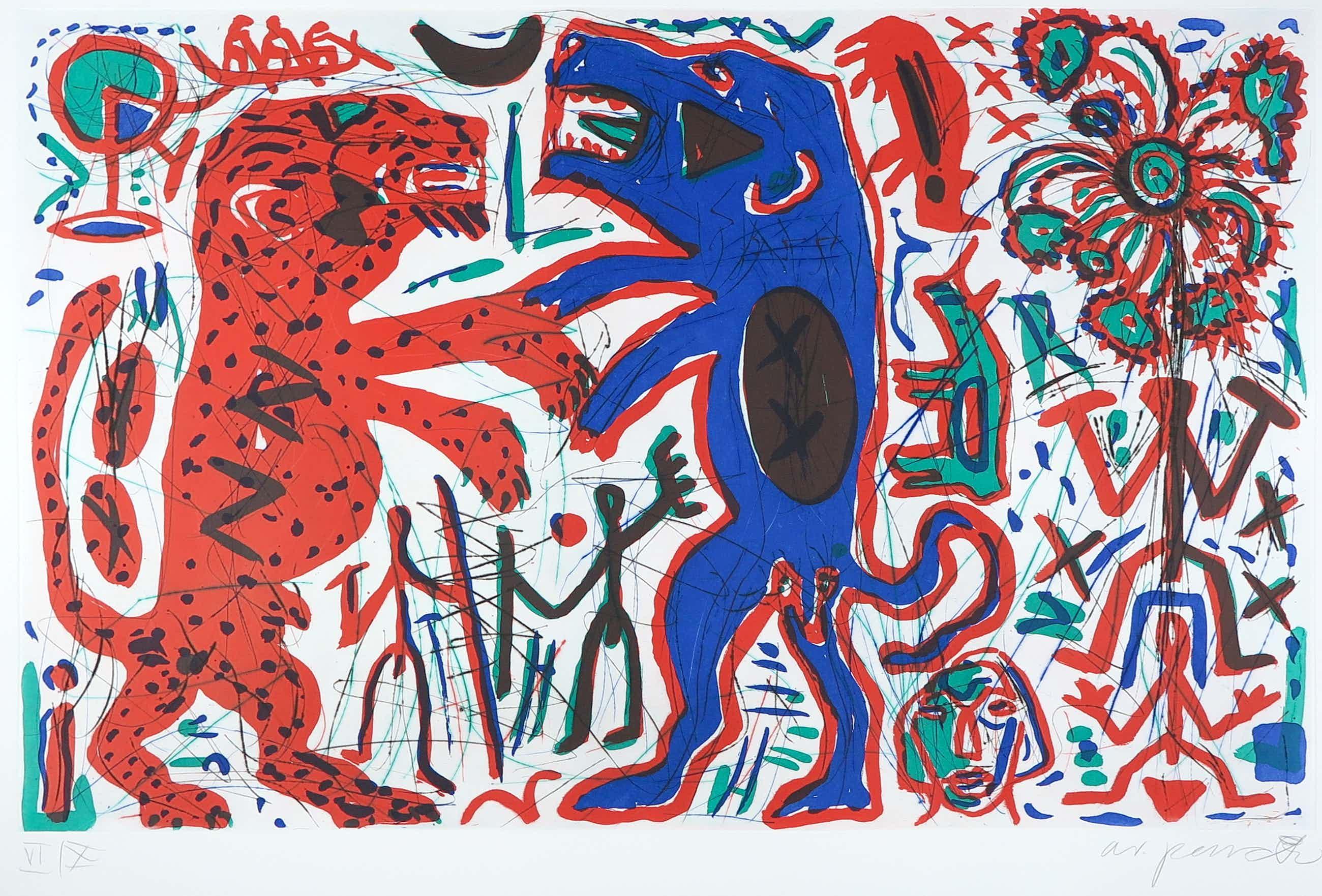 A.R. Penck - Grote heldere droge naald kleurenets, Romantischer Streit kopen? Bied vanaf 1600!
