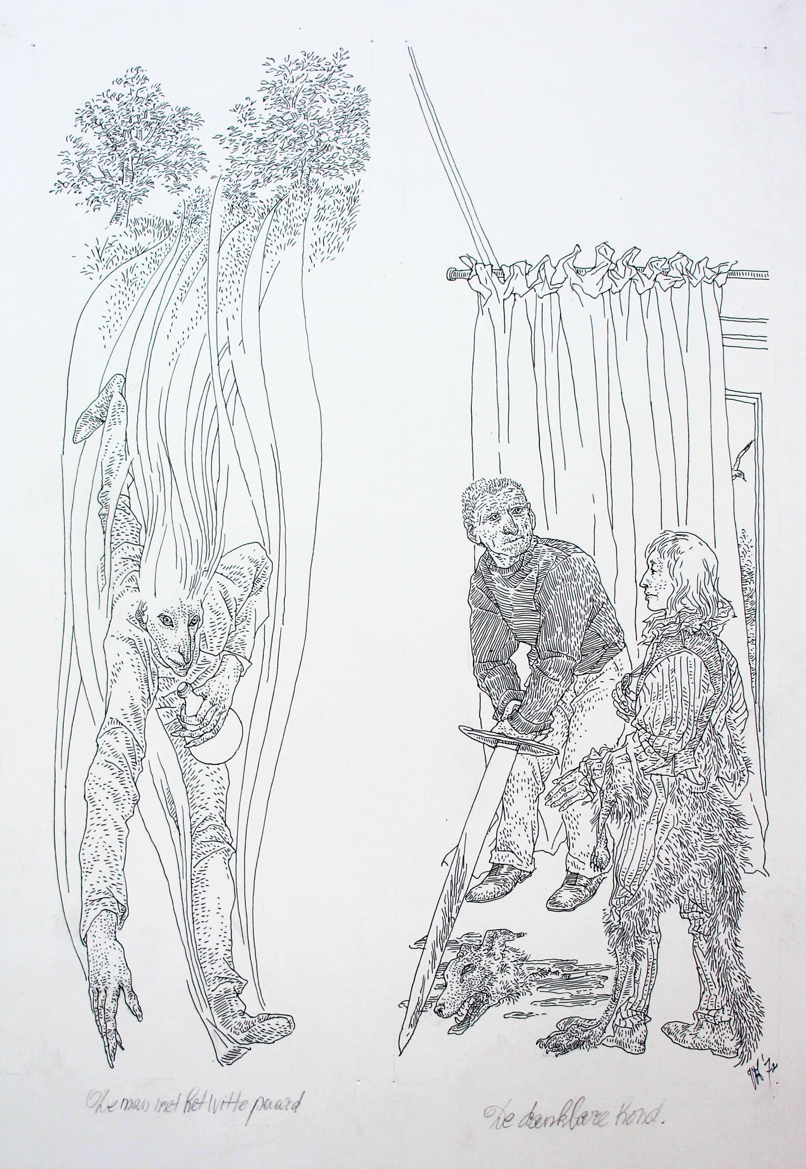 Peter Vos - 2 tekeningen: Illustraties voor een boek - 1972 kopen? Bied vanaf 475!