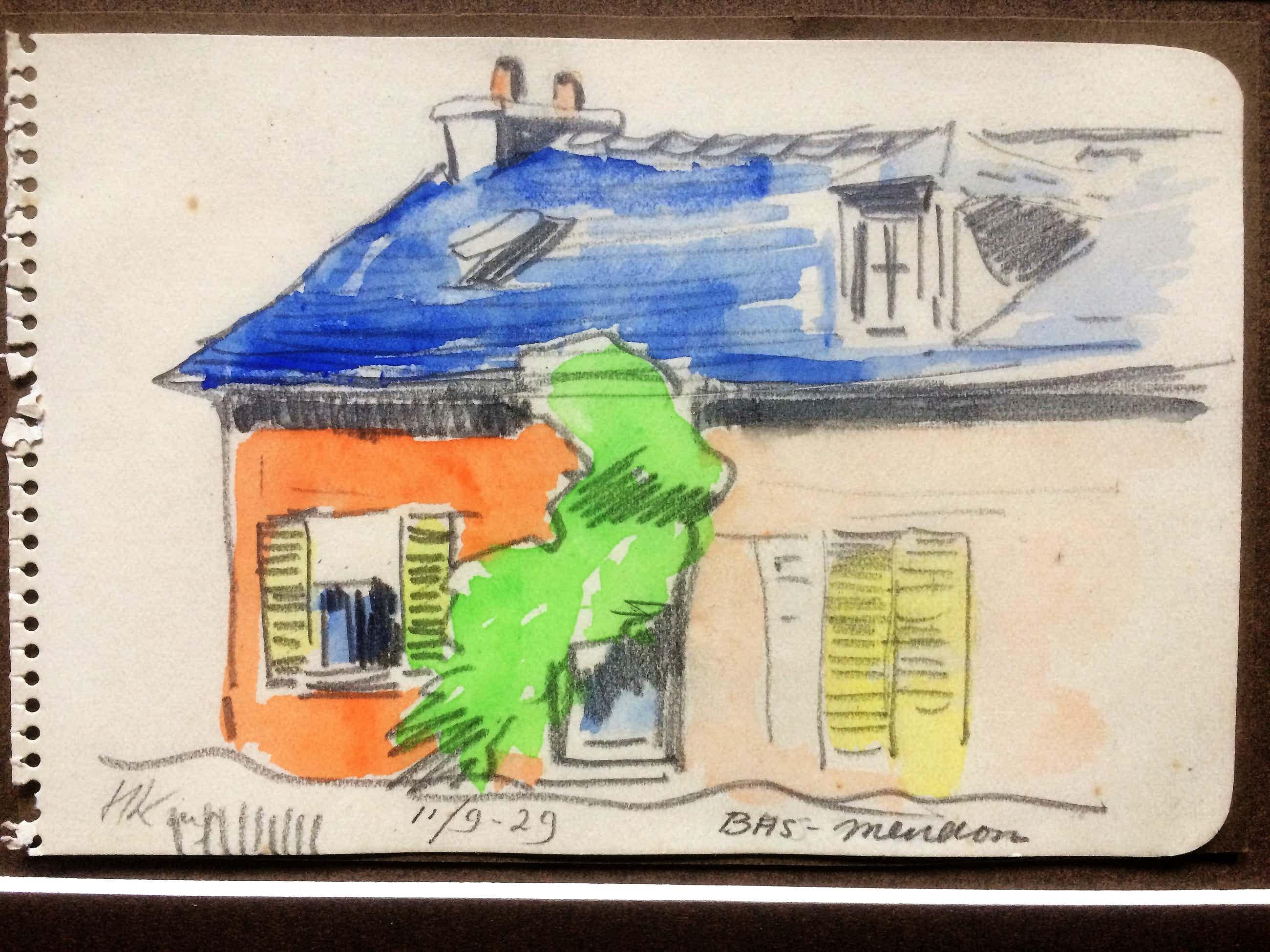 "Han Krug - Aquarel tekening ""Bas Meudon"" 1929 kopen? Bied vanaf 20!"