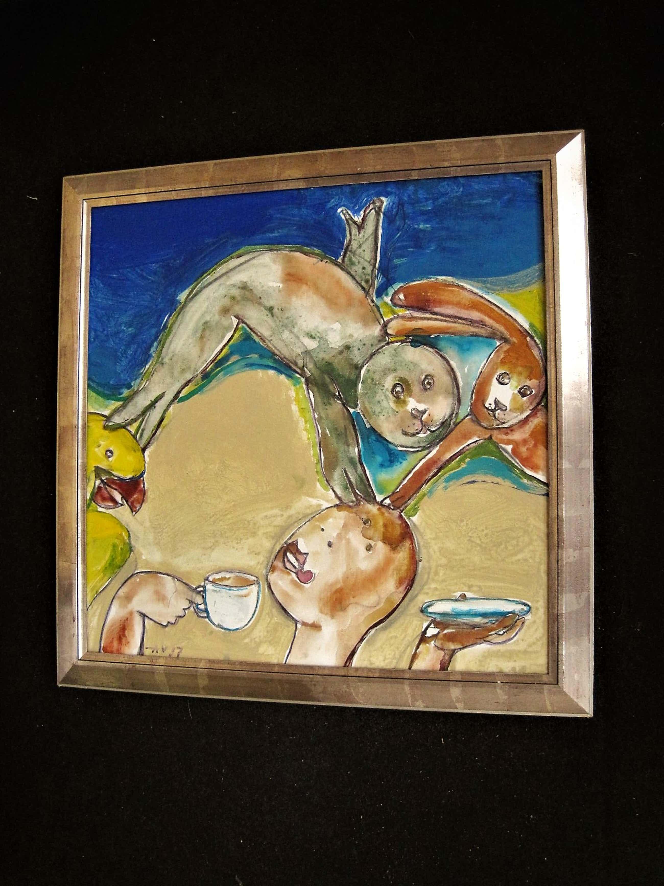 """Anton Vrede - Antilliaans-Surinaamse Expressionist - Grote Gouache """"Zoetje Little Sweet"""" gesig kopen? Bied vanaf 206!"""