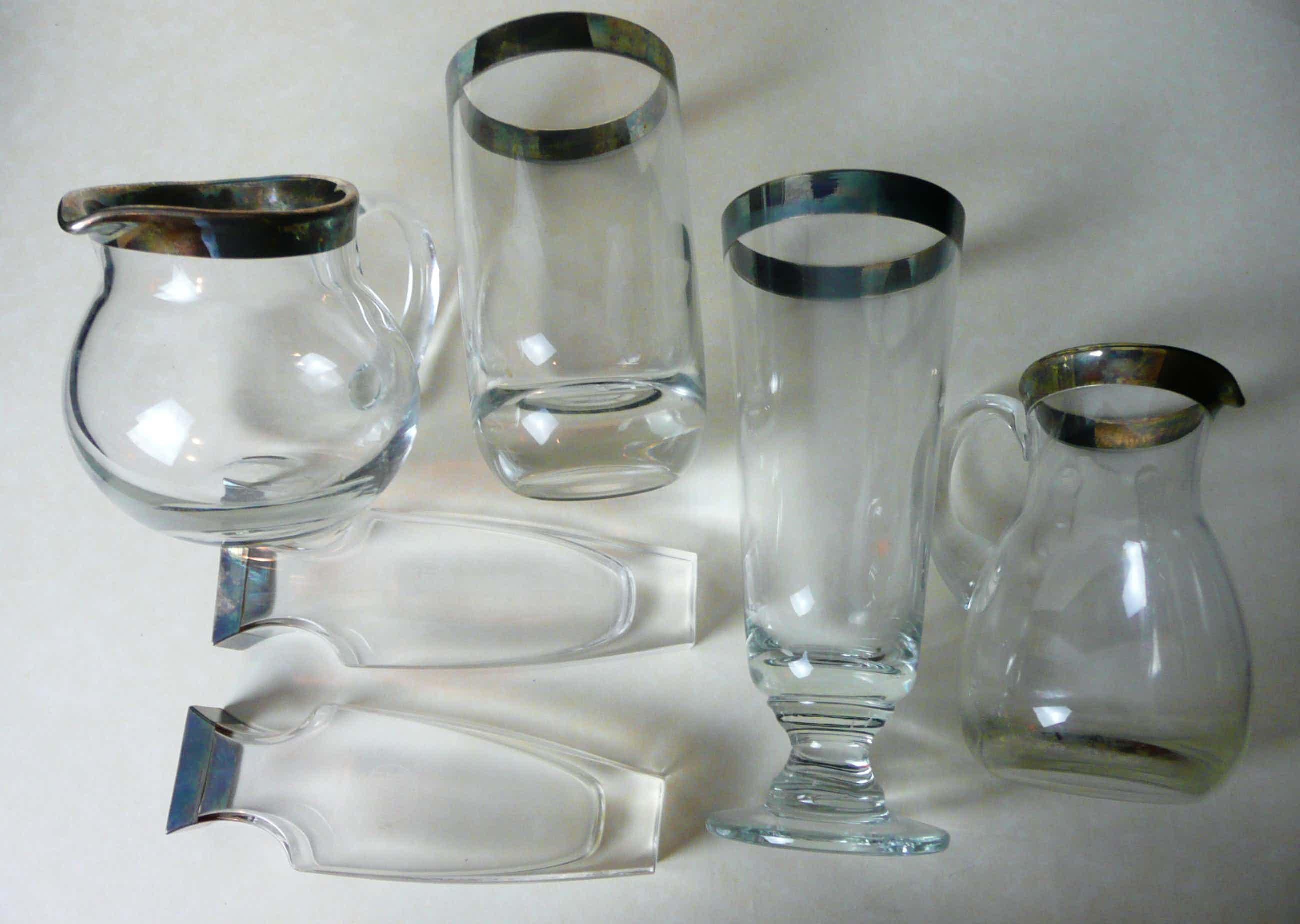 Niet of onleesbaar gesigneerd - 6 Designer - Glasobjekte mit Silbermontierung am oberen Rand kopen? Bied vanaf 5!