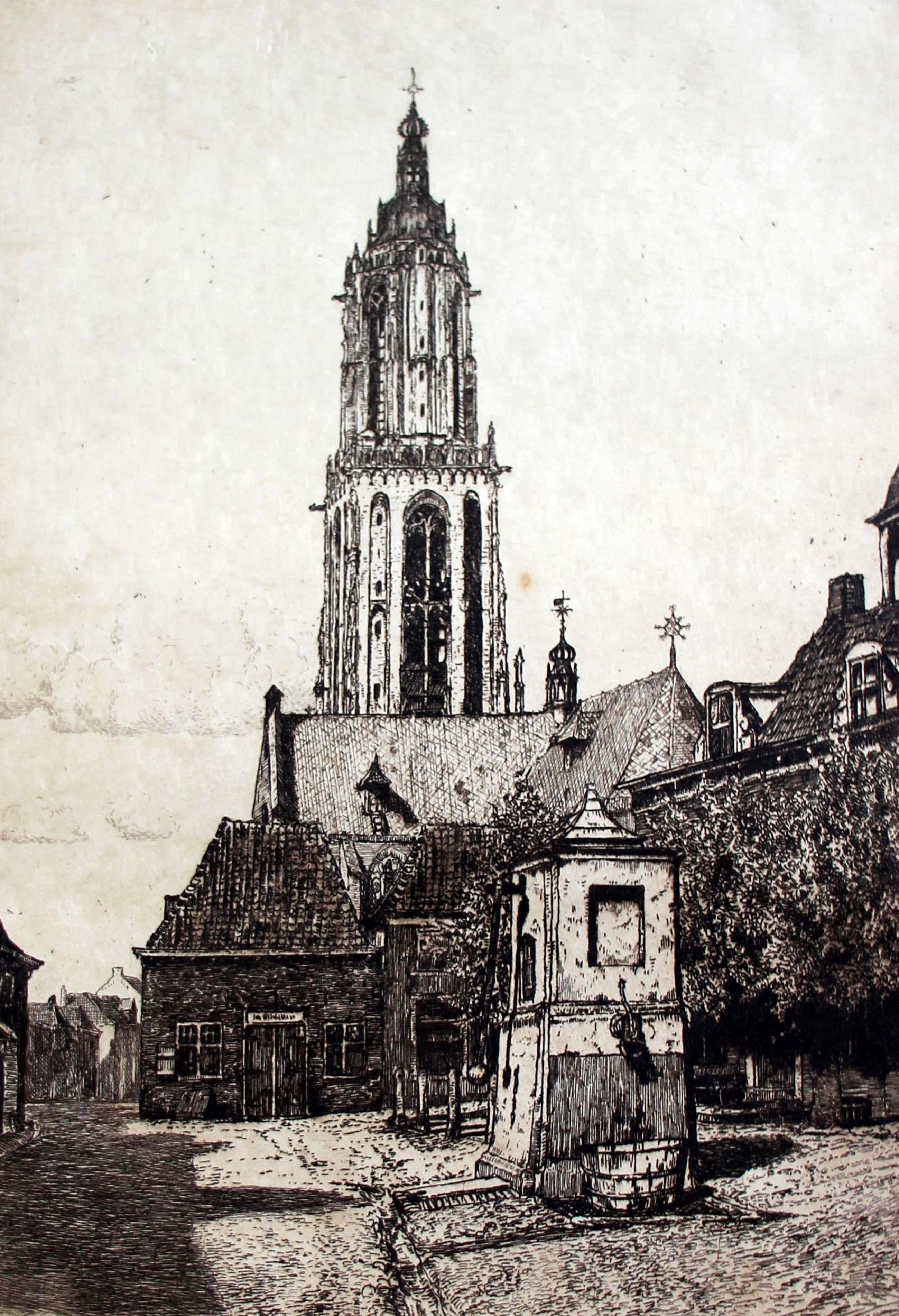 Hendrikus Roodenburg - Ets: Markt-Rhenen - 1913 kopen? Bied vanaf 45!