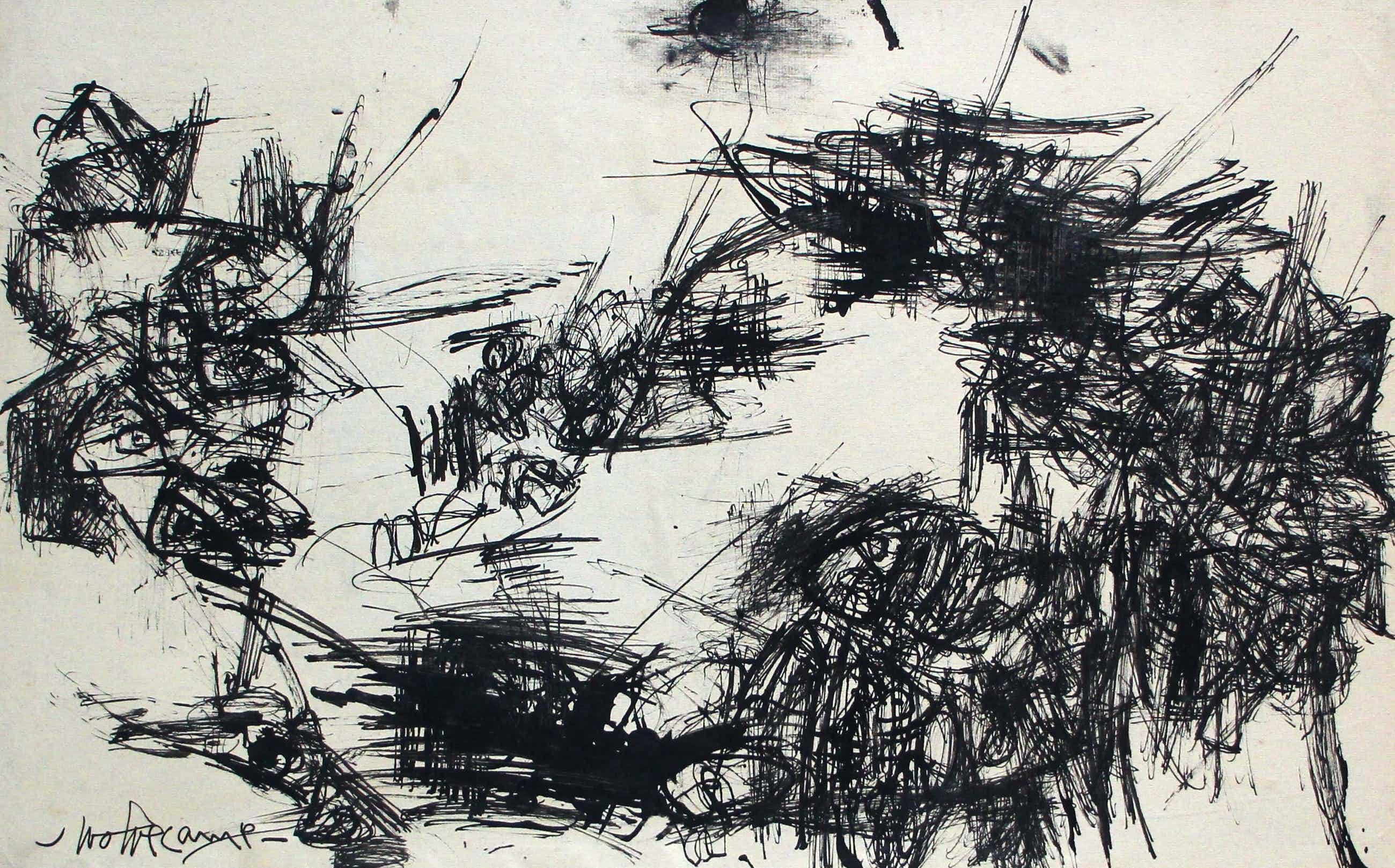 Theo Wolvecamp - abstracte inkttekening (collectie Hans en Alice de Jong) kopen? Bied vanaf 595!