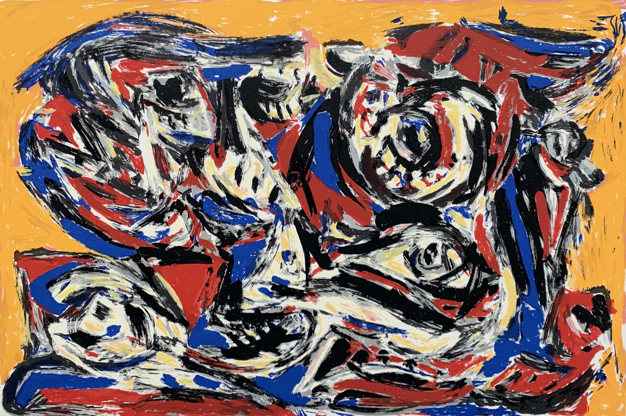 Theo Wolvecamp - kleurenzeefdruk - zonder titel - 1988 (Prachtige kleuren) kopen? Bied vanaf 225!