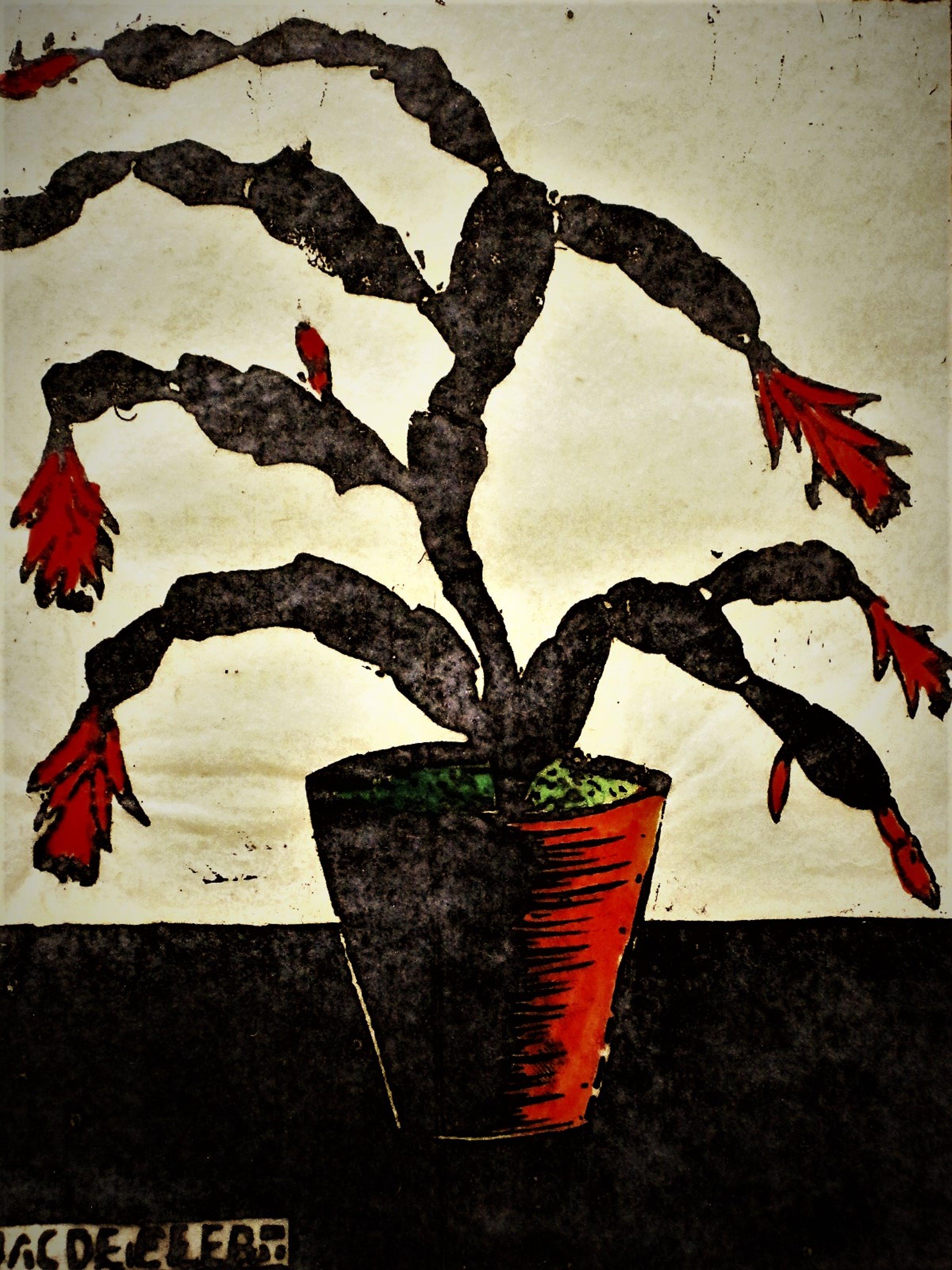 """Jac. de Beer - verstilde Houtsnede - eigen druk - """"Plant met rode bloemen"""" 1931 - gesigneerd kopen? Bied vanaf 10!"""
