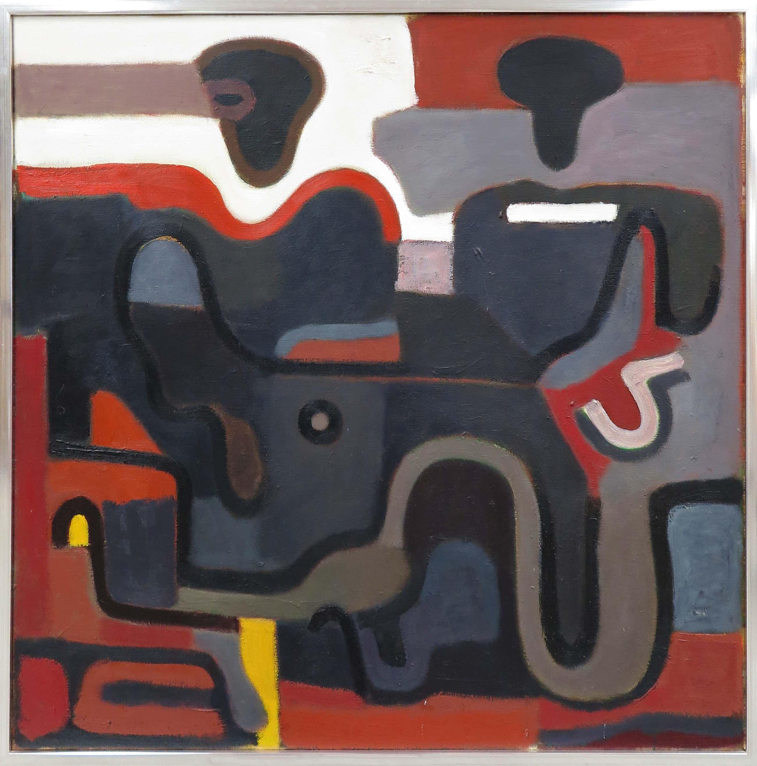 Ed Dukkers - Olieverf op doek, Abstracte compositie met figuren - Ingelijst (Groot) kopen? Bied vanaf 500!