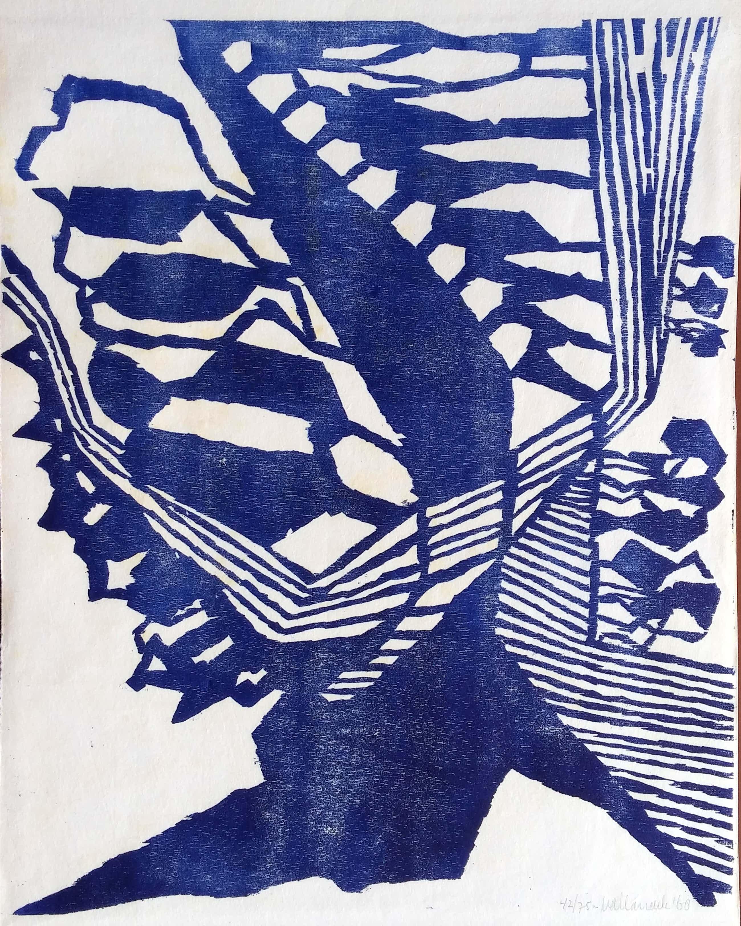 Anneke van der Mandele - abstracte houtsnede - 1968 - op Japans rijstpapier kopen? Bied vanaf 40!
