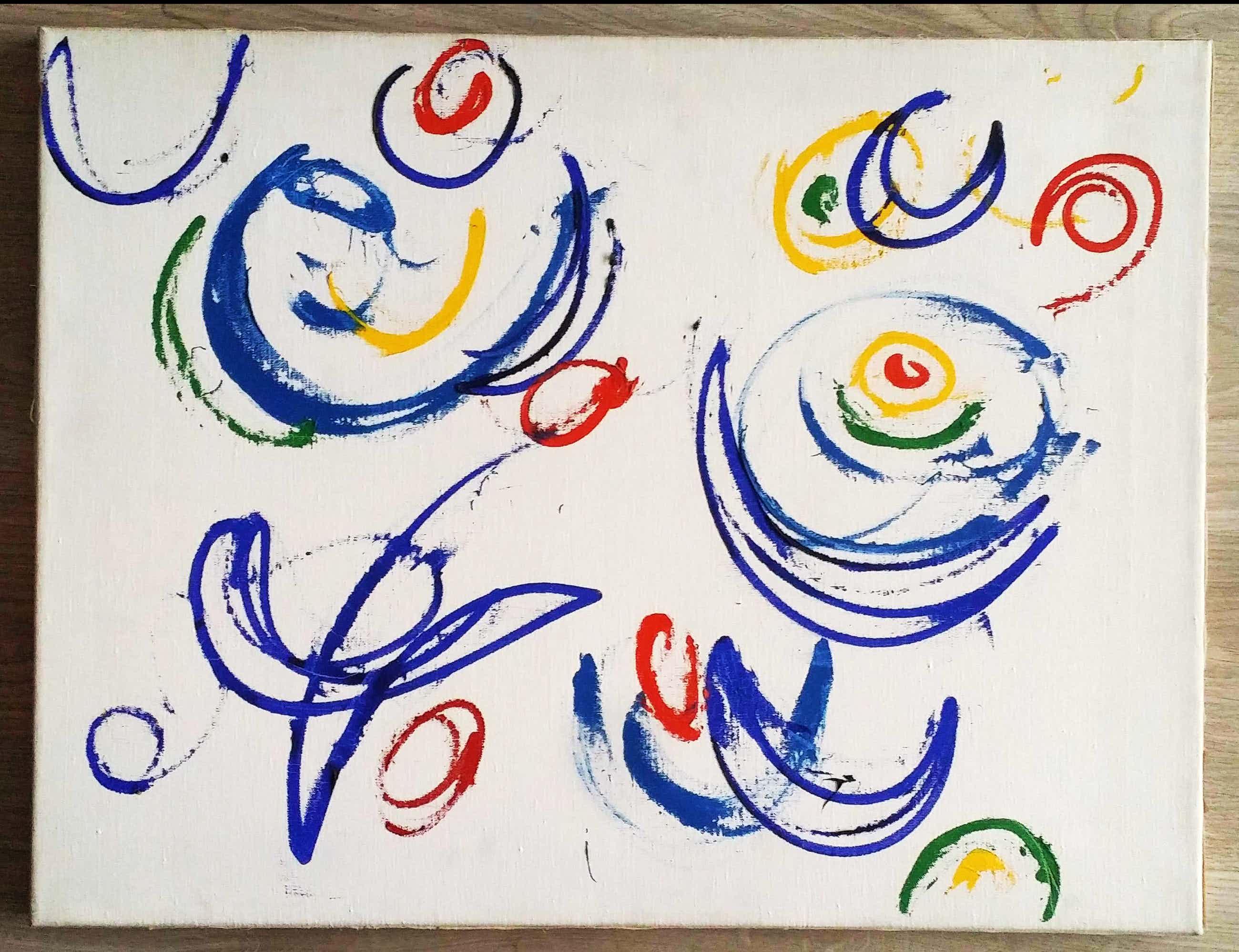 Gillis van Oosten - Abstract. Vrolijke kleurrijke figuren. kopen? Bied vanaf 129!
