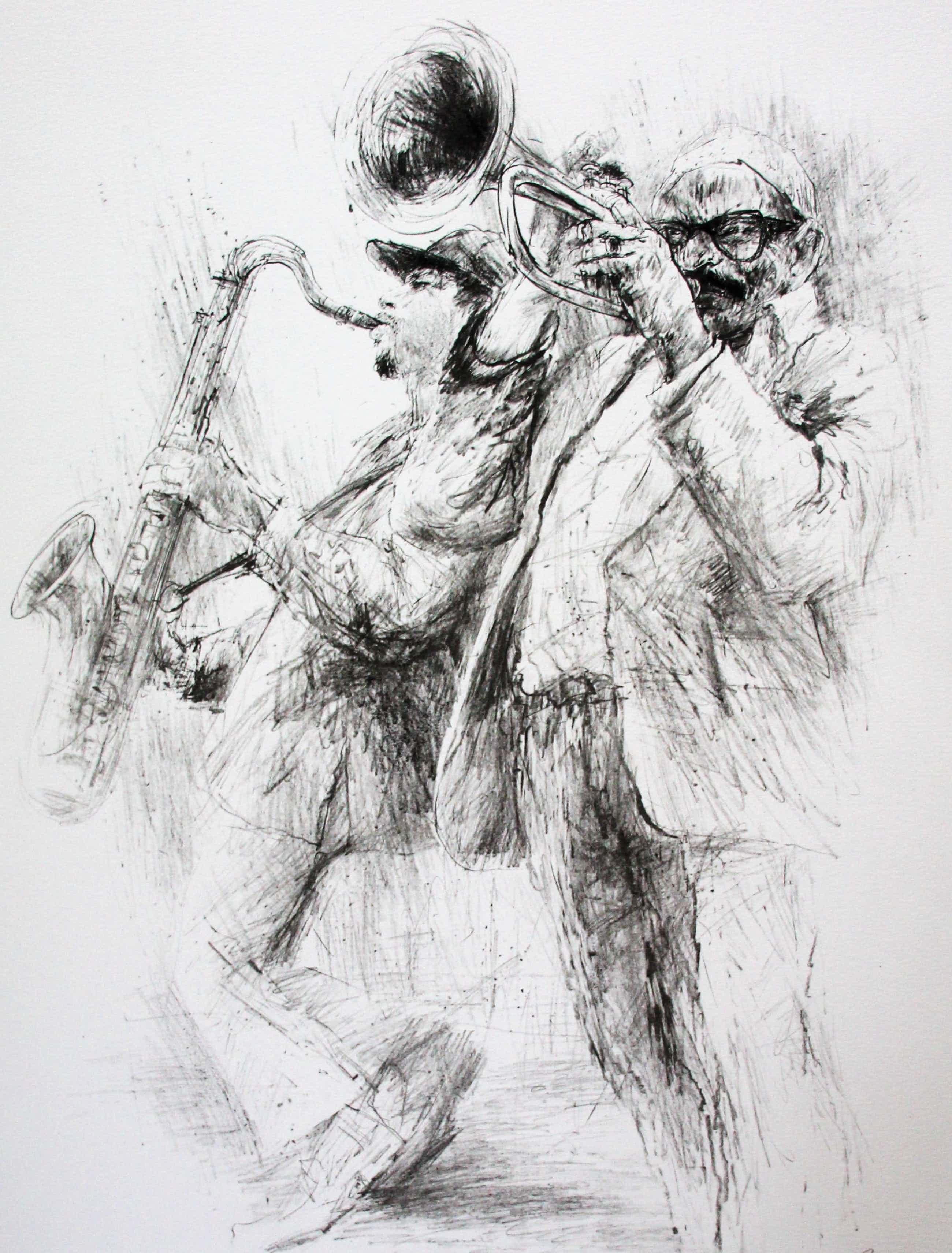 Piet Klaasse - Litho: 2 jazz muzikanten - 1984 kopen? Bied vanaf 55!