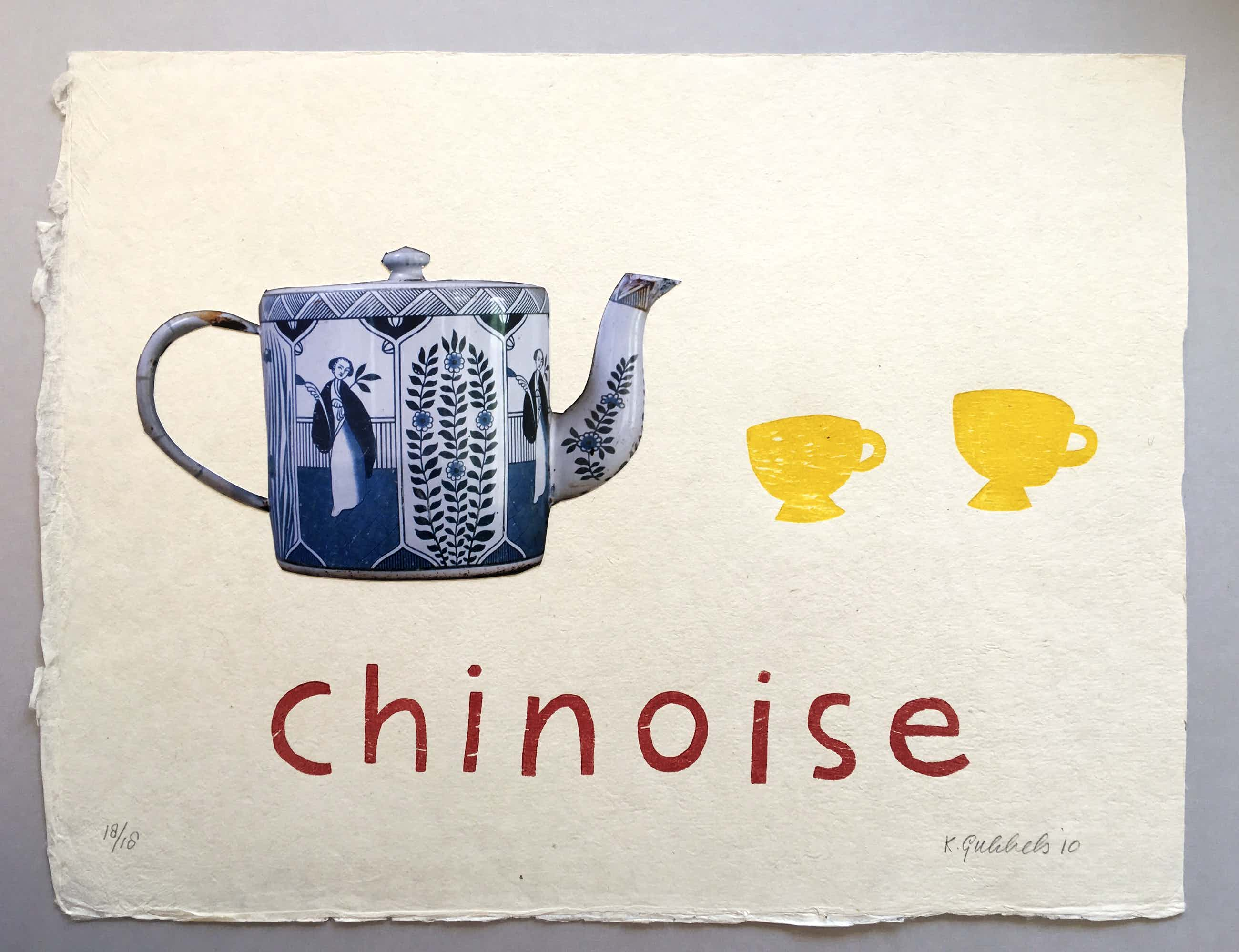 Klaas Gubbels - houtdruk ' Chinoise ' - 2010 - oplage 18 ex kopen? Bied vanaf 395!