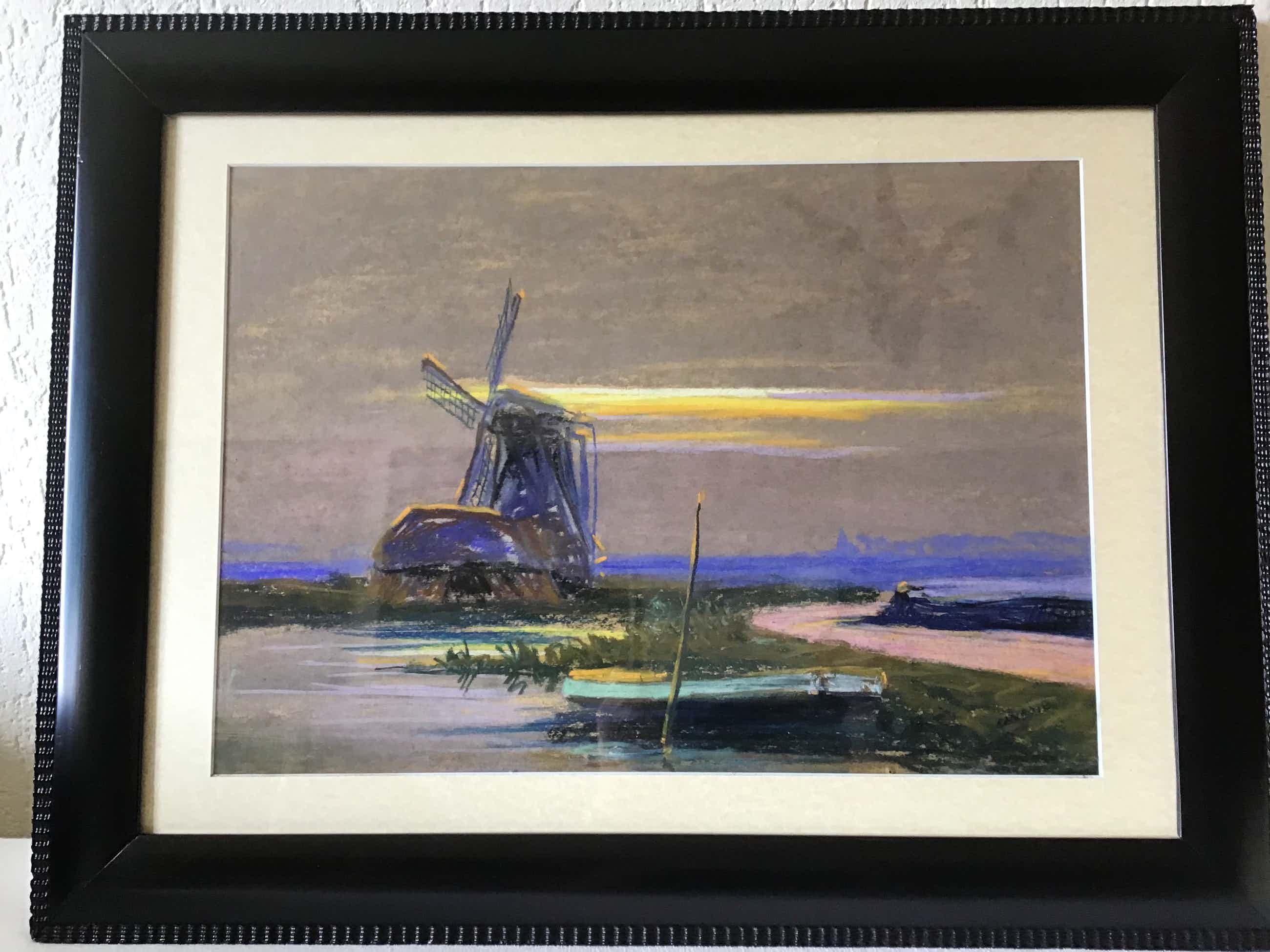 Cornelis Albert van Assendelft - Molen in landschap,pastel op karton kopen? Bied vanaf 80!