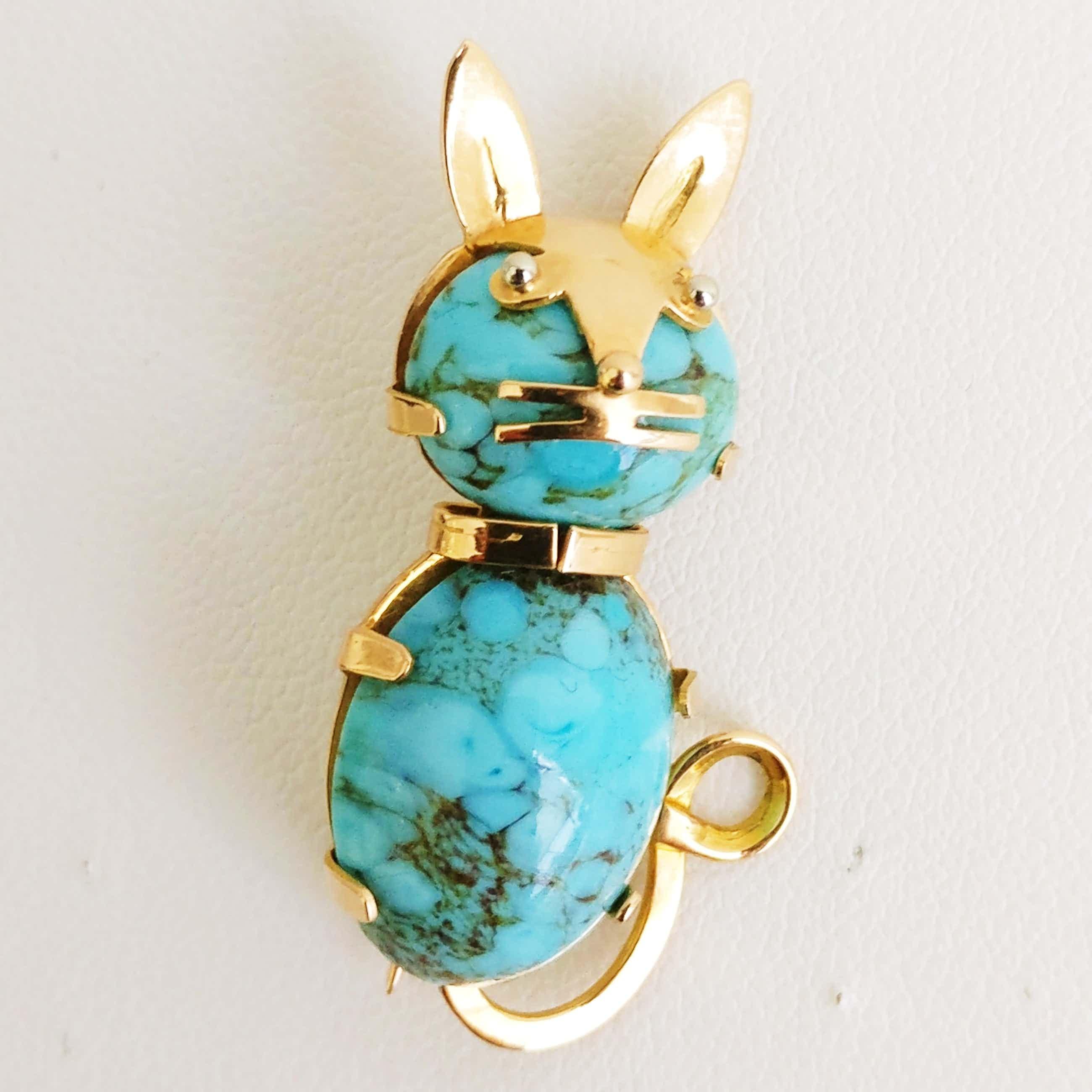 Vintage Cat Brooch in Turquoise and Gold kopen? Bied vanaf 210!