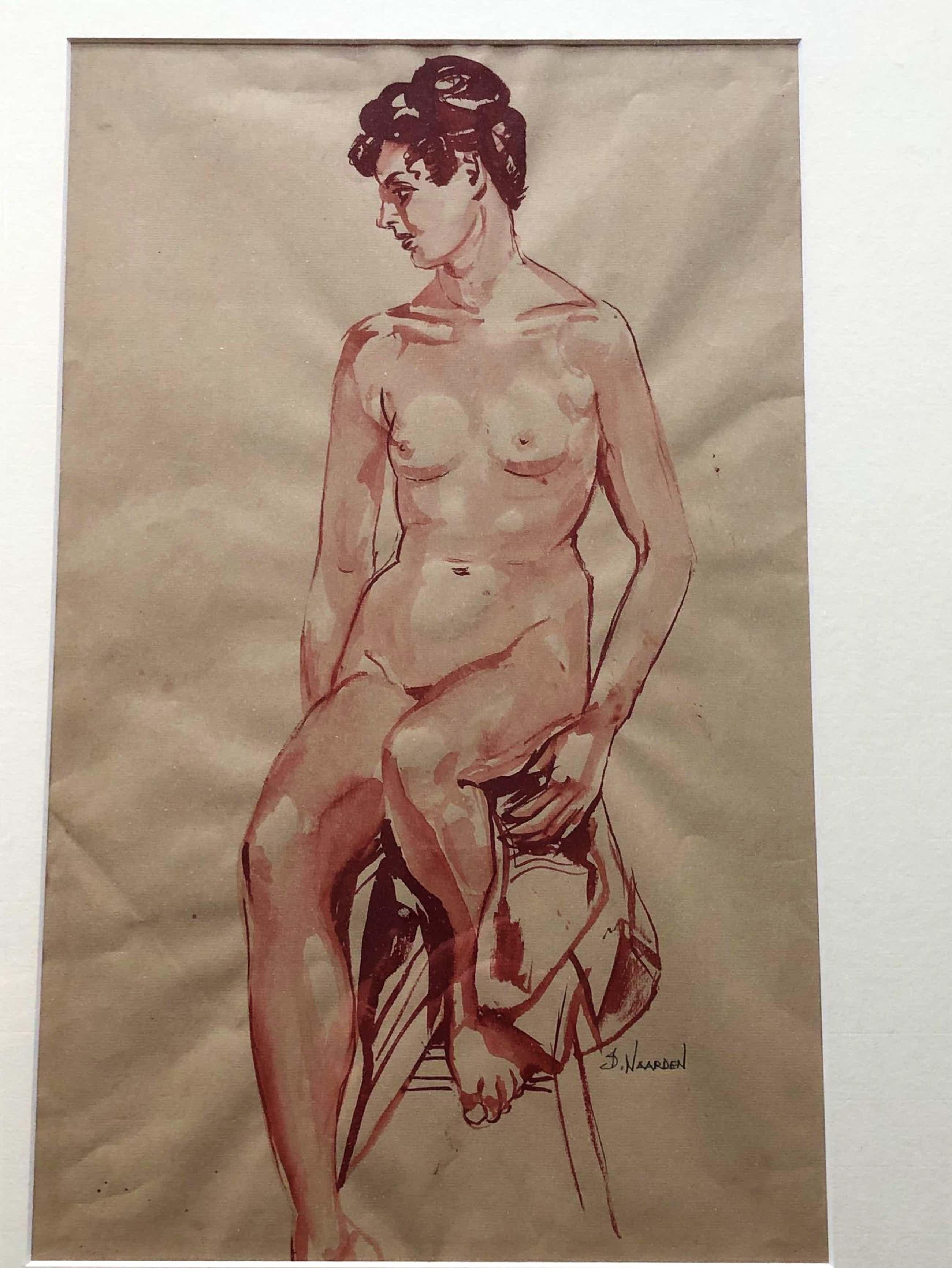 Isaac Naarden - portret van naakte vrouw op kruk gezeten kopen? Bied vanaf 85!